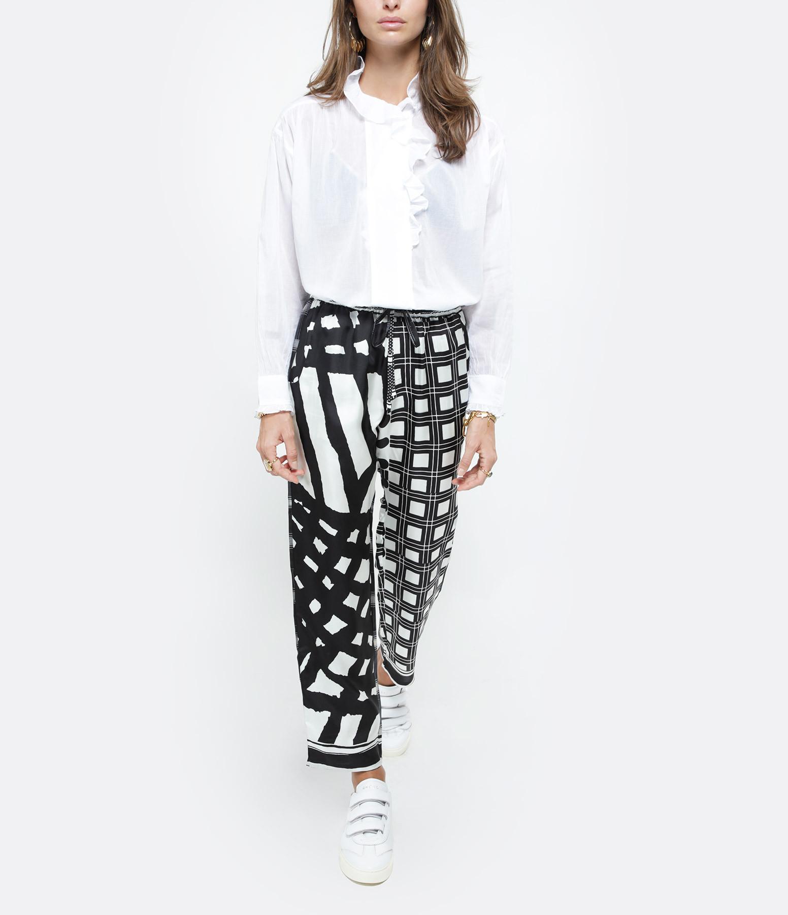 PIERRE-LOUIS MASCIA - Pantalon Aloe Soie Imprimé Noir Blanc