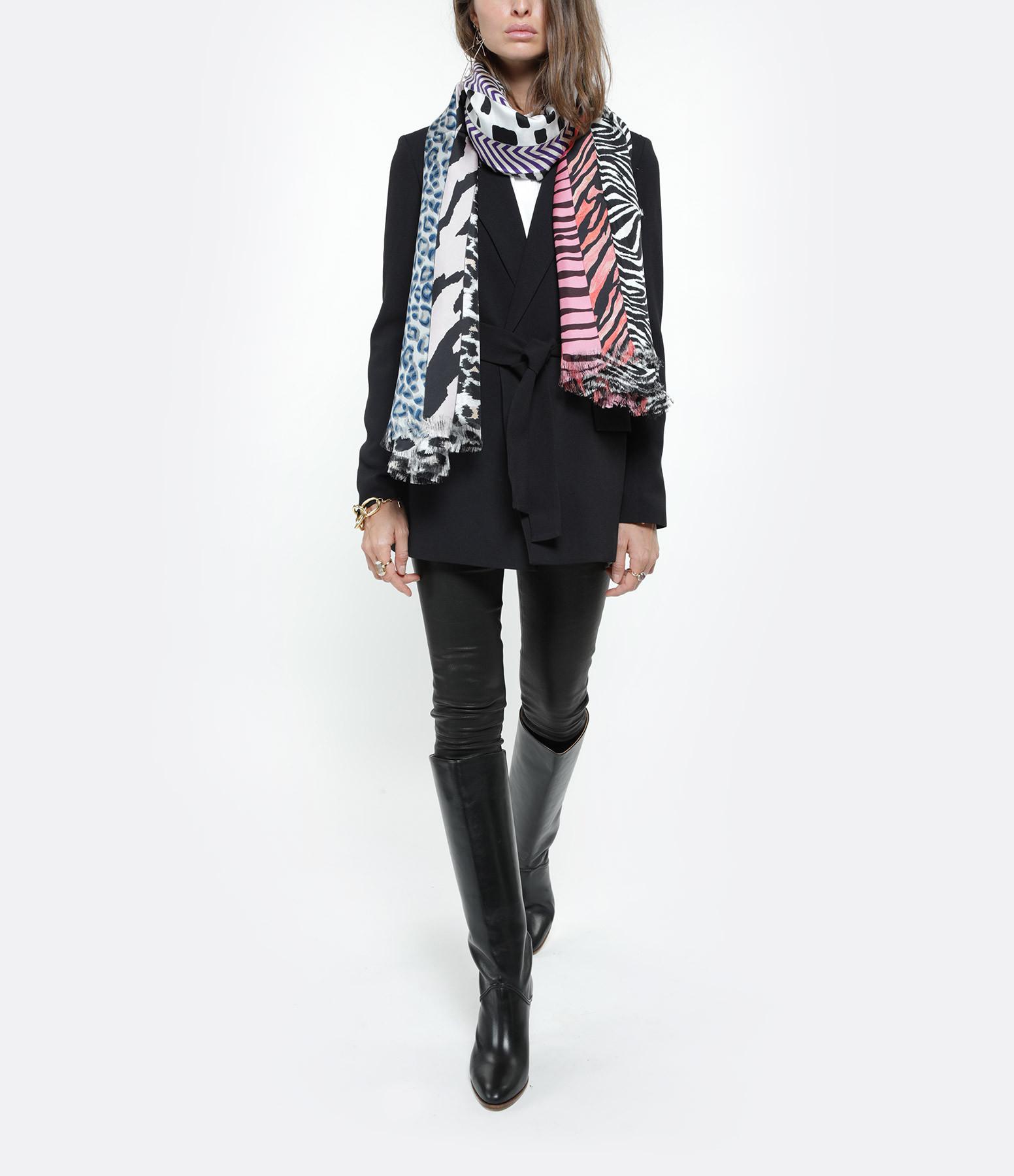 PIERRE-LOUIS MASCIA - Foulard Aloeuw Soie Imprimé Noir Rose 135x195