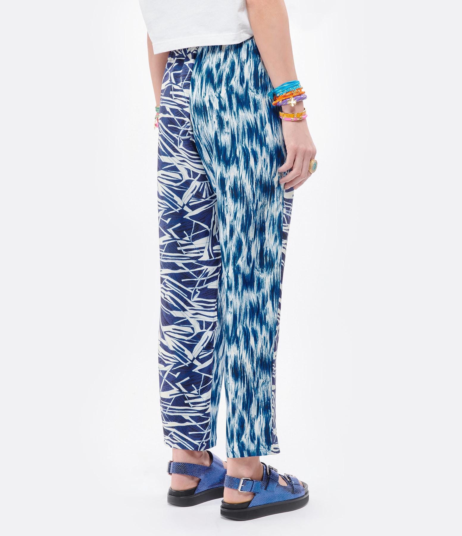 PIERRE-LOUIS MASCIA - Pantalon Aloe Soie Imprimé Blanc Bleu