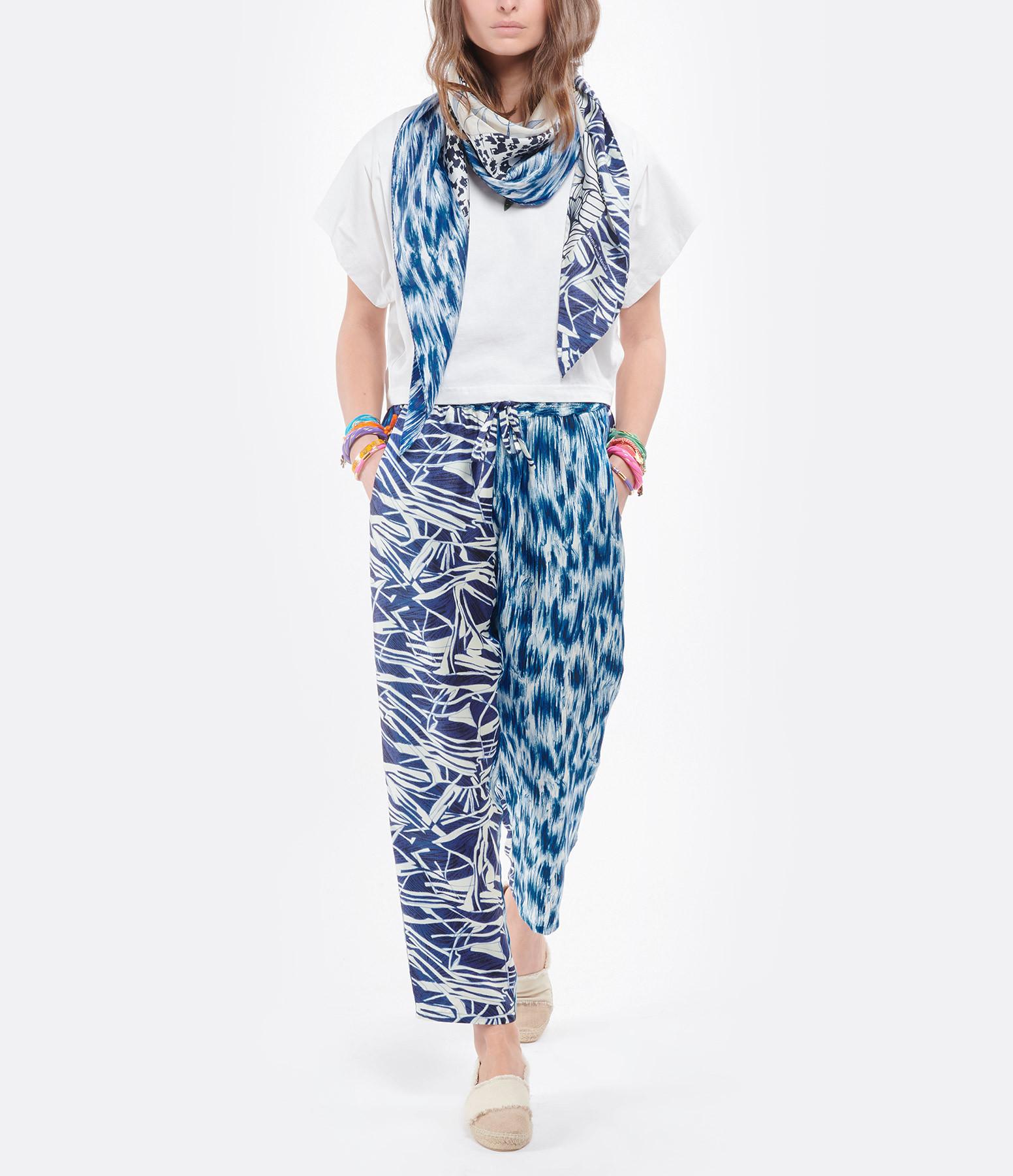 PIERRE-LOUIS MASCIA - Foulard Aloeuw Soie Imprimé Bleu 100 x 100cm