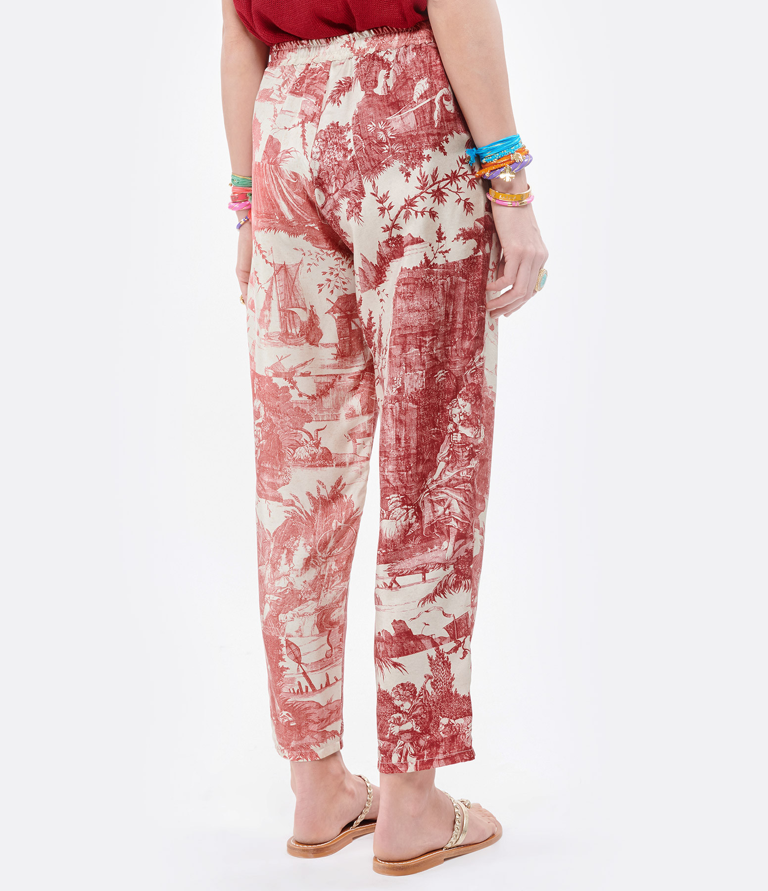 PIERRE-LOUIS MASCIA - Pantalon Aloe Soie Imprimé Blanc Rose