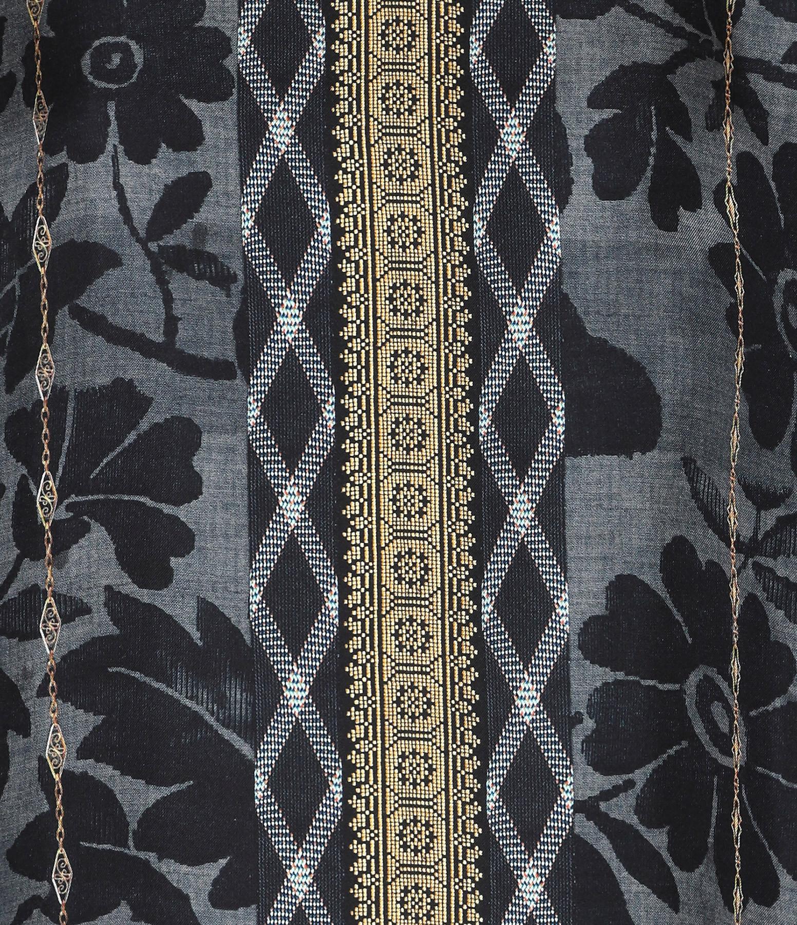 PIERRE-LOUIS MASCIA - Chemise Aloeuw Soie Imprimé Floral Noir Marron