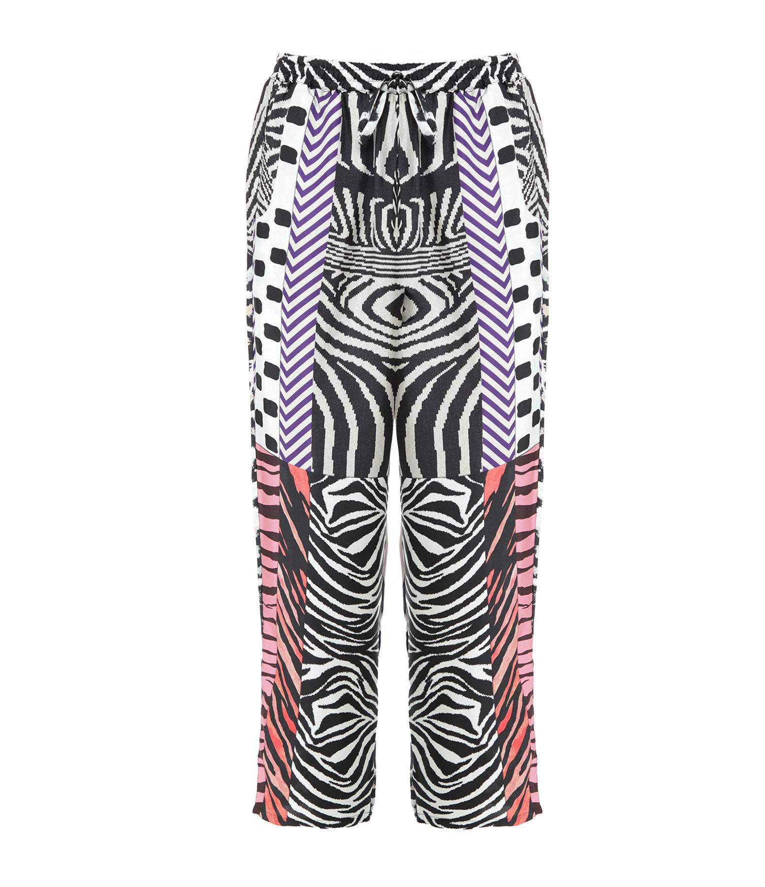 PIERRE-LOUIS MASCIA - Pantalon Aloe Soie Imprimé Noir Rose