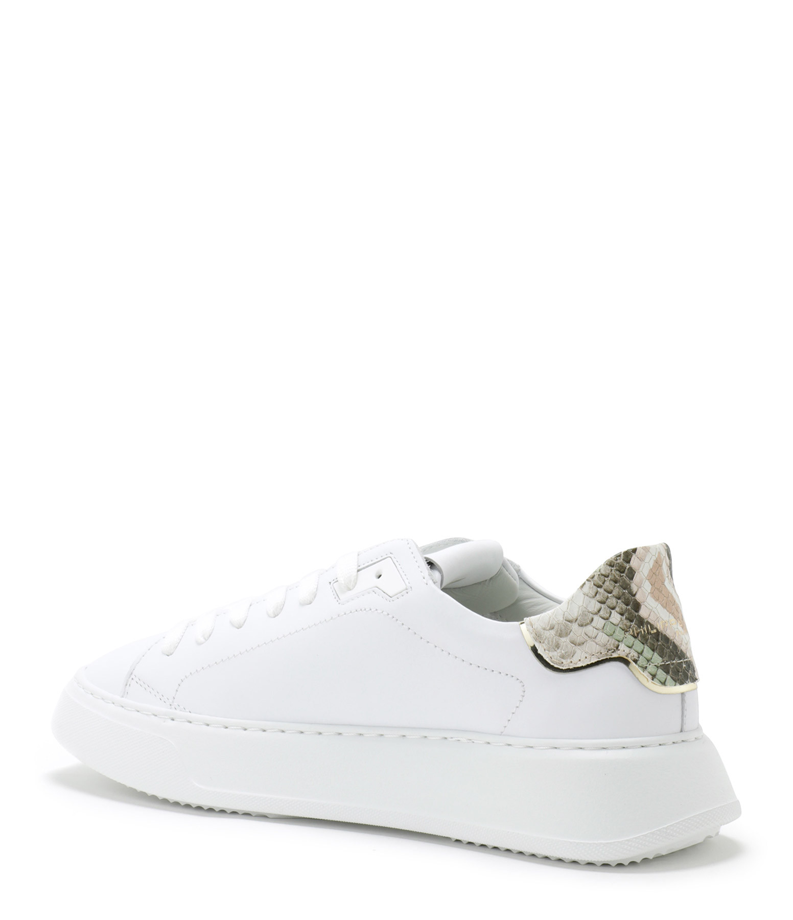 PHILIPPE MODEL - Baskets Temple Low Cuir Blanc Vert