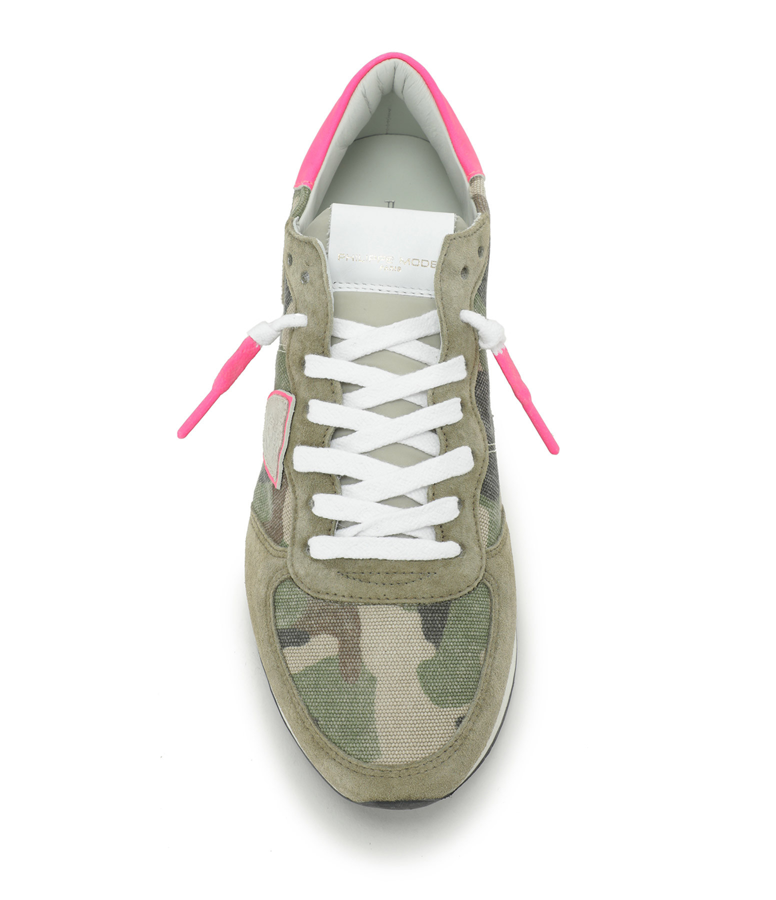 PHILIPPE MODEL - Baskets TRPX Low Camouflage Neon Vert Fushia