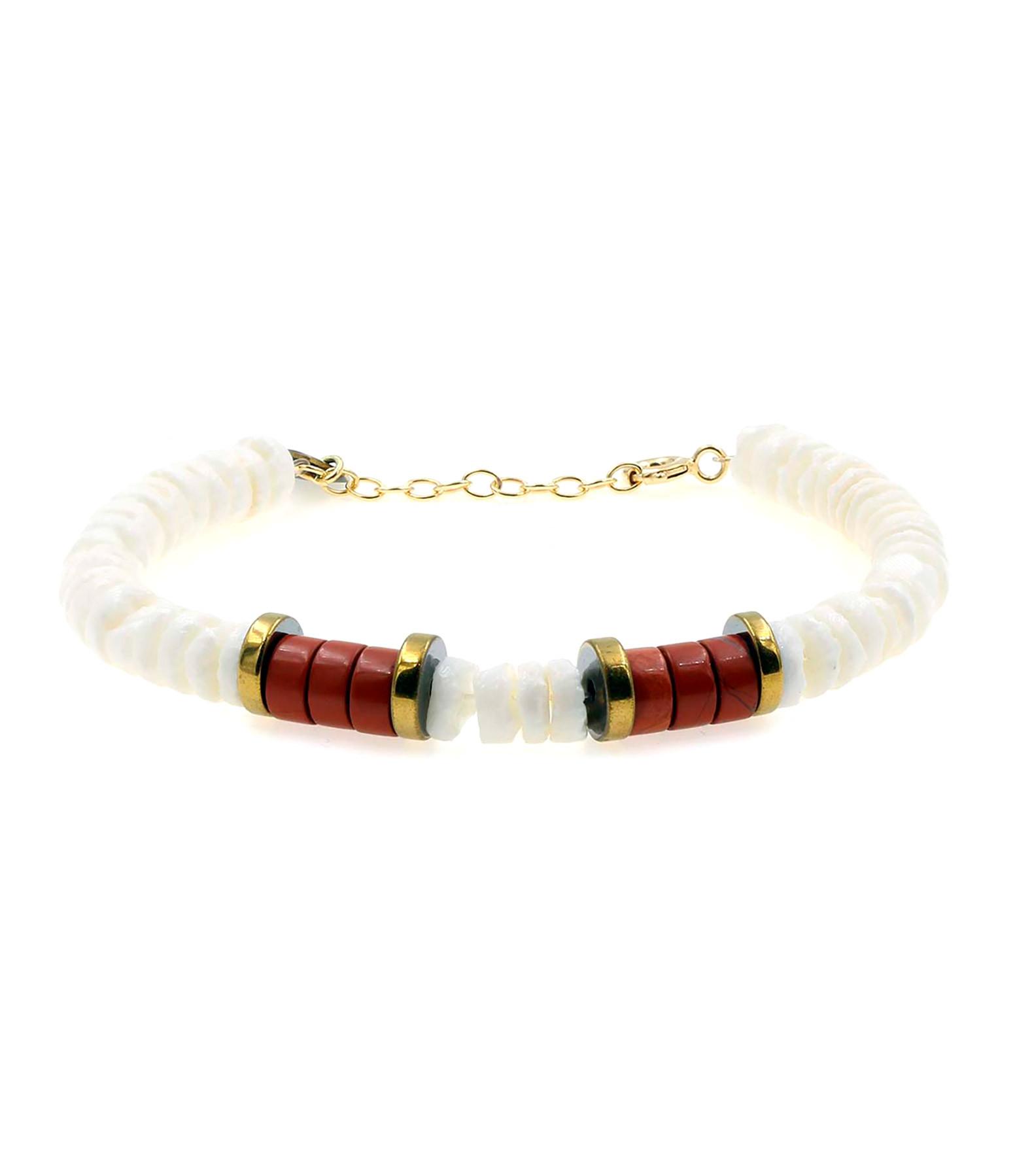 MON PRECIEUX GEM - Bracelet Puka Coquillage Jaspe