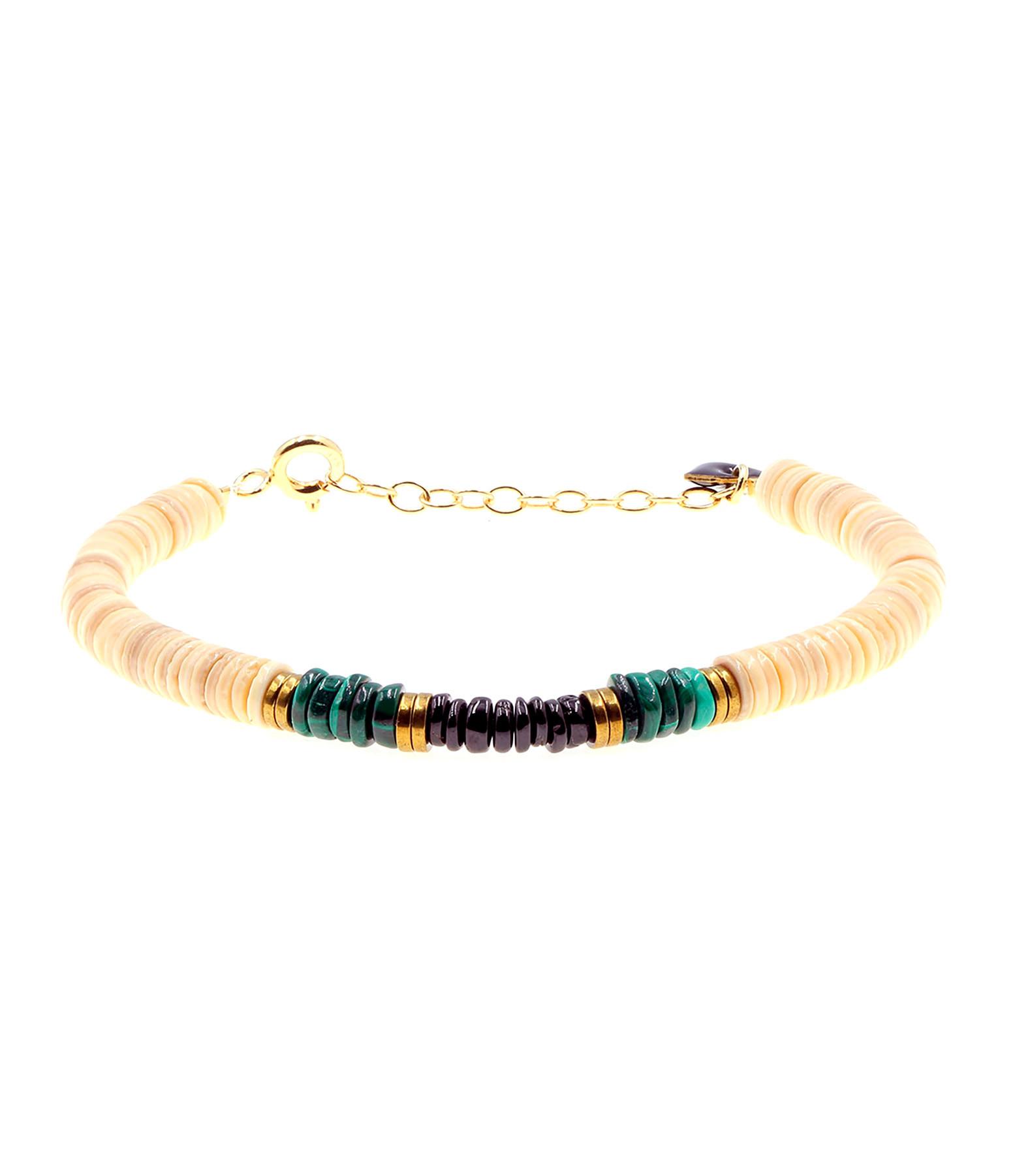 MON PRECIEUX GEM - Bracelet Puka Coquillage Malachite Onyx