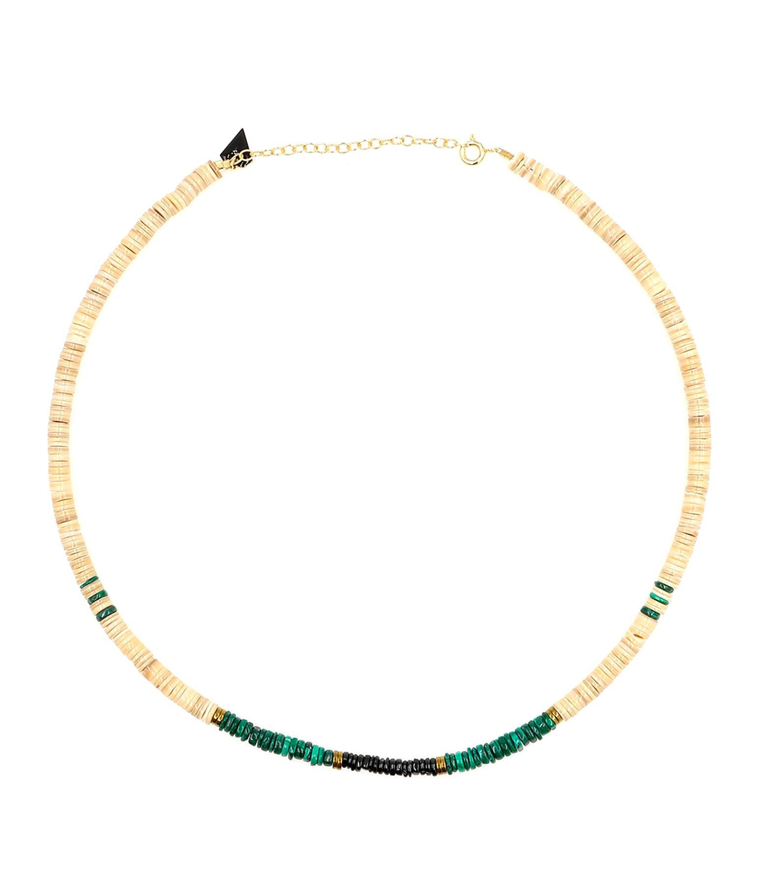 MON PRECIEUX GEM - Collier Puka Coquillage Malachite Onyx
