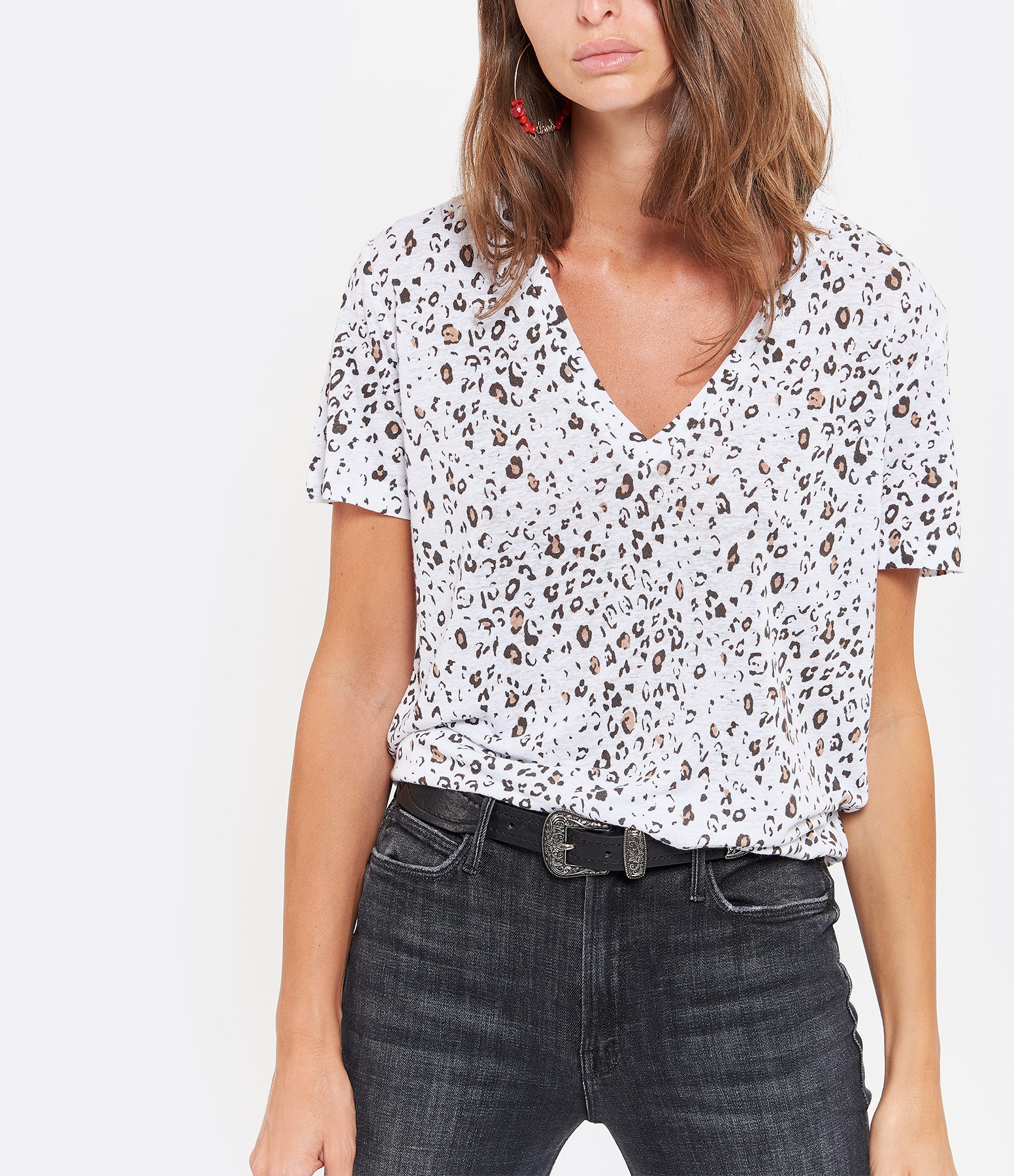 RAILS - Tee-shirt Cara Lin Imprimé Léopard Lin Mocha Blanc