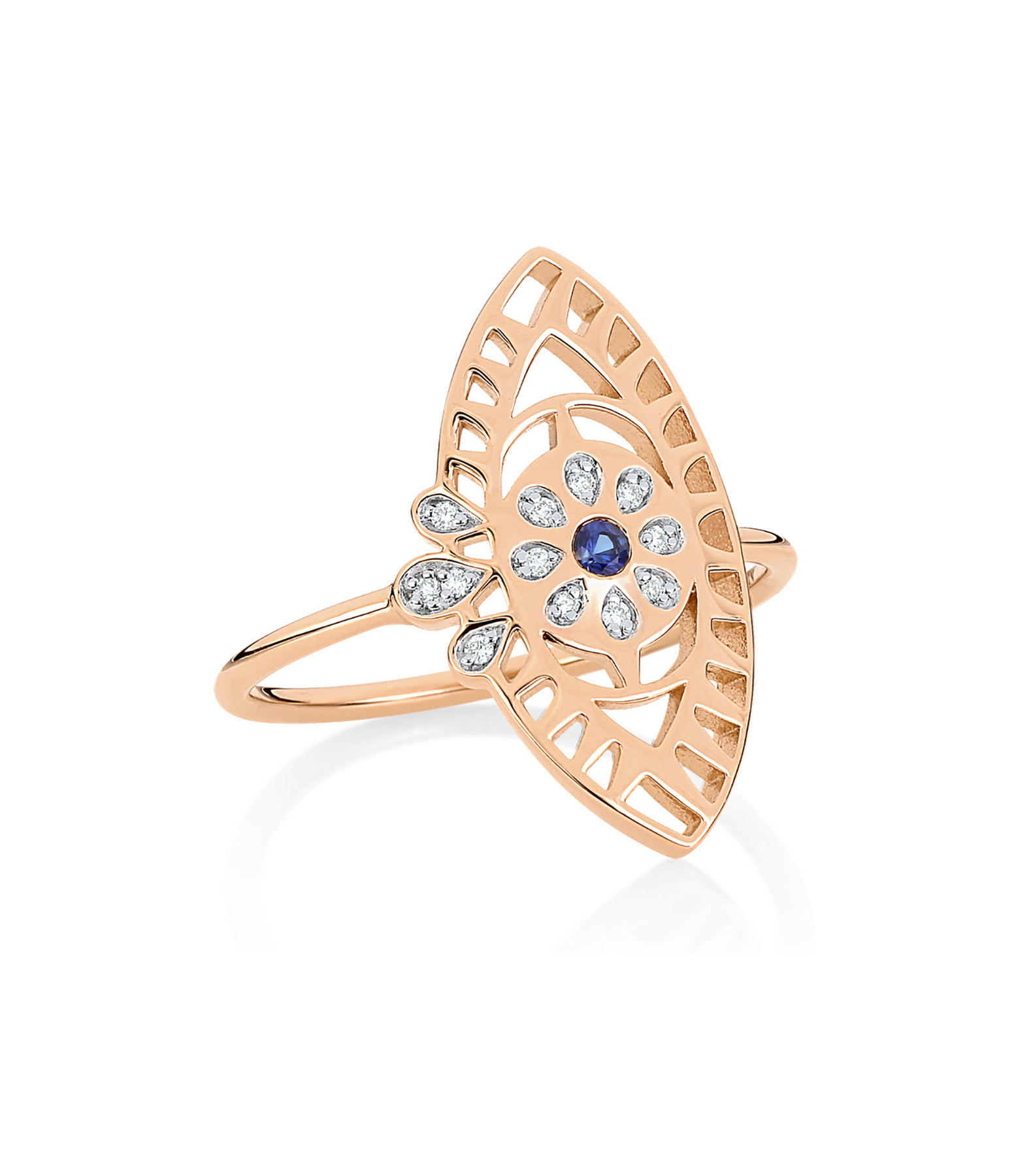 GINETTE NY - Bague Ajna Large Saphir Diamants Or Rose