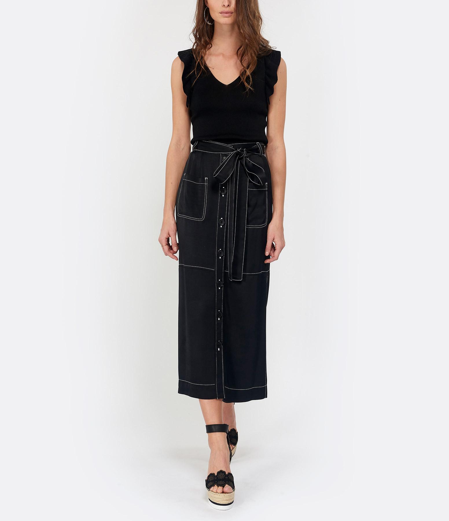 ROBERTO COLLINA - Top Volant Coton Noir