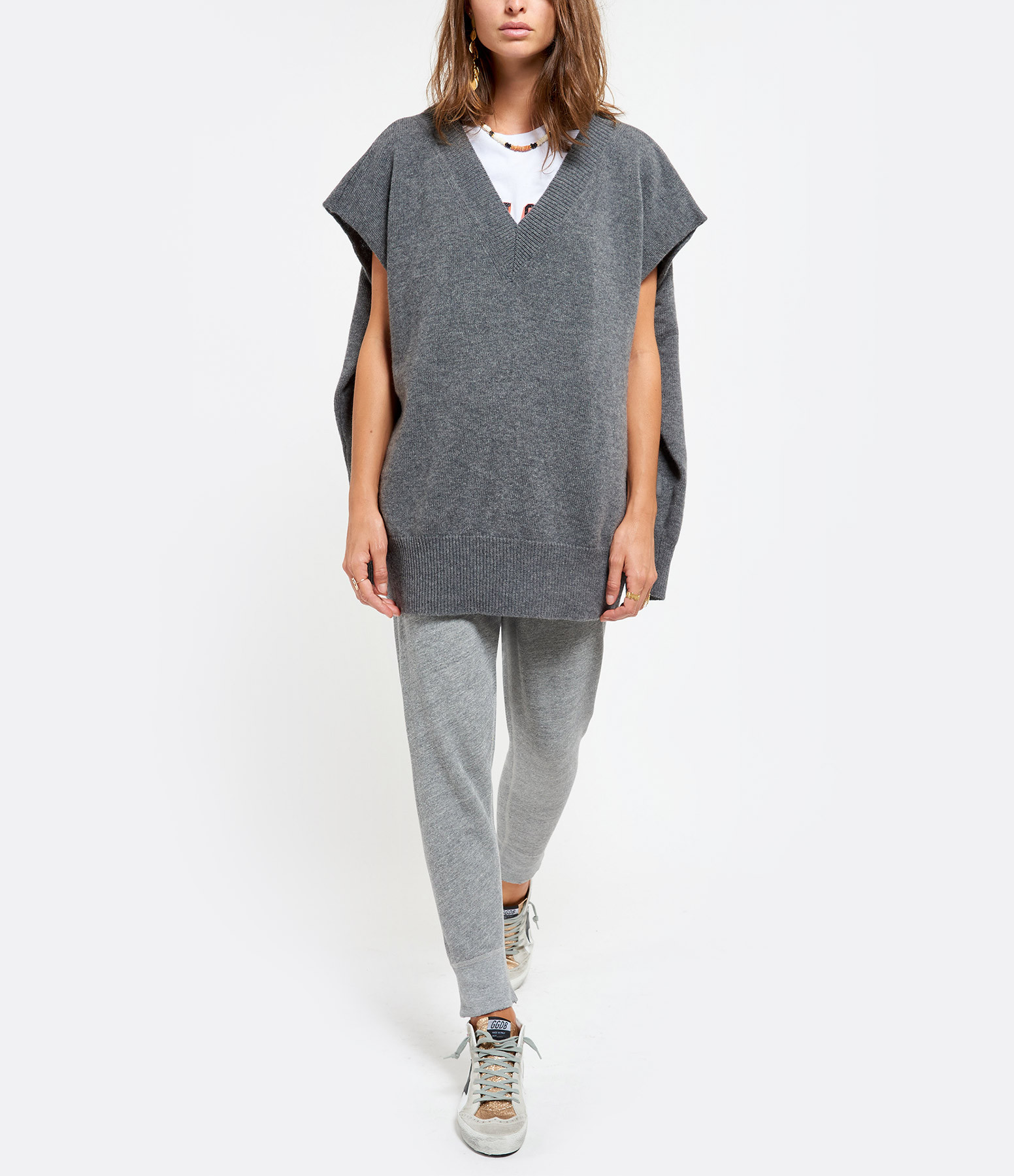 ROBERTO COLLINA - Pull Col V Laine Gris
