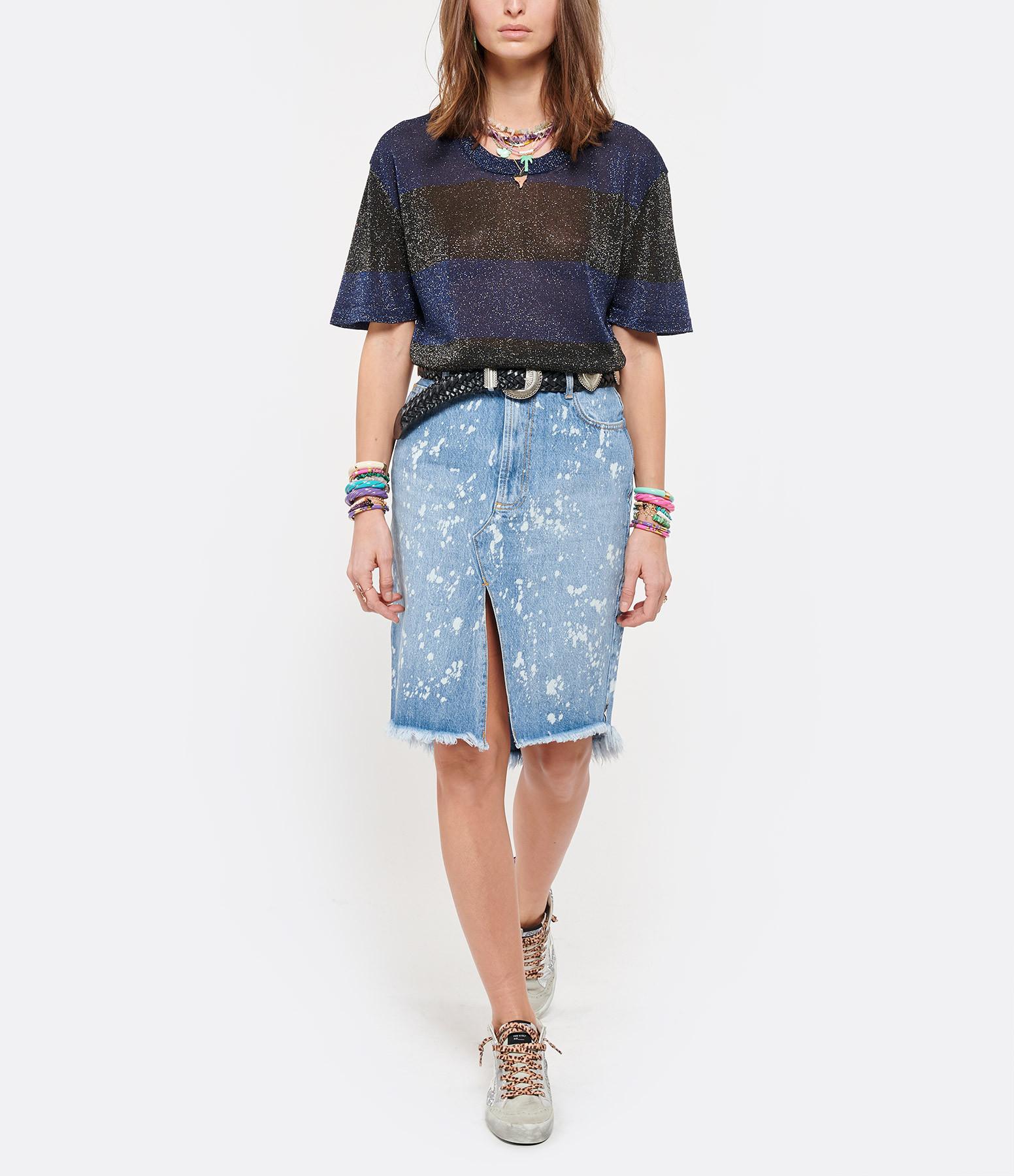 ROBERTO COLLINA - T-shirt Rayures Bleu Noir