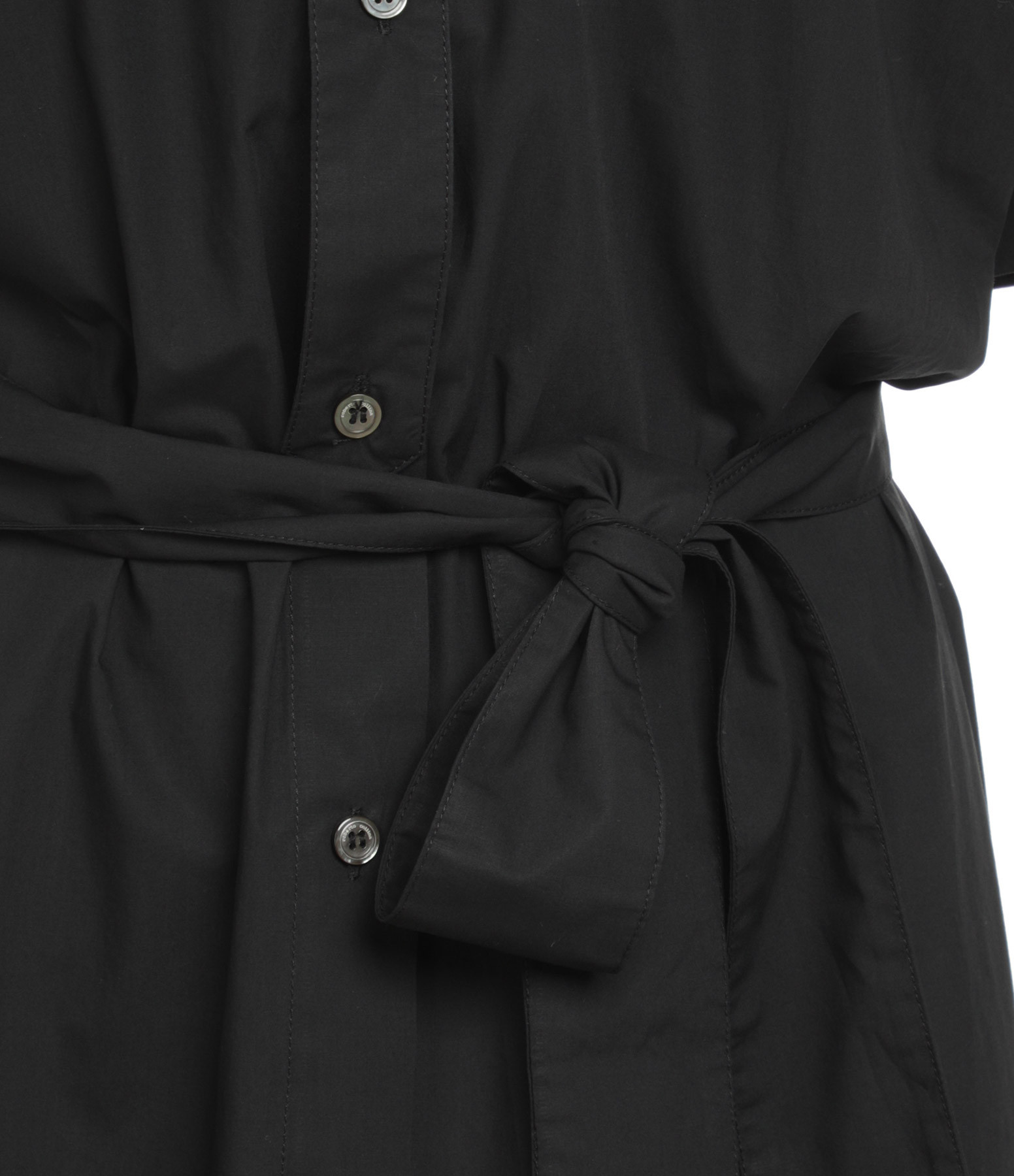 ROBERTO COLLINA - Robe Ceinturée Coton Noir
