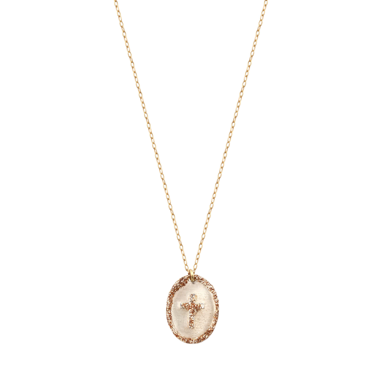 LSONGE - Collier Ovale Croix Argent Blanc