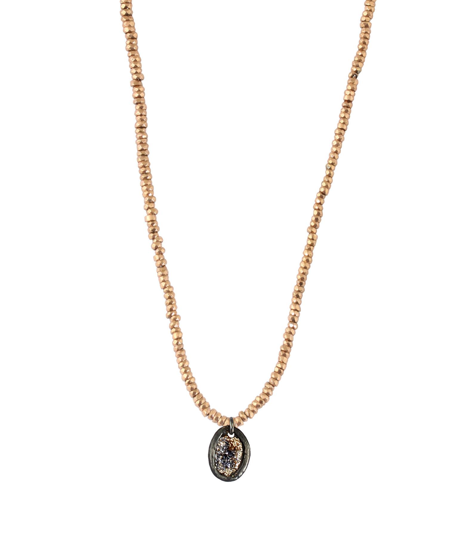 LSONGE - Collier Eclat Médaille XS Argent Noir Hématite Rose
