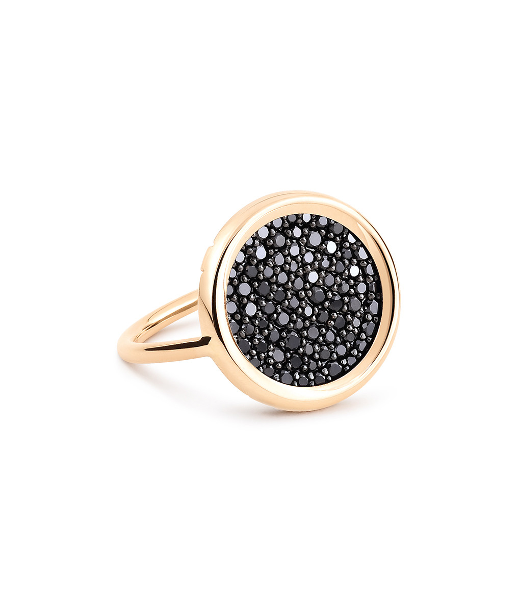 GINETTE_NY - Bague Disc Diamants Noirs