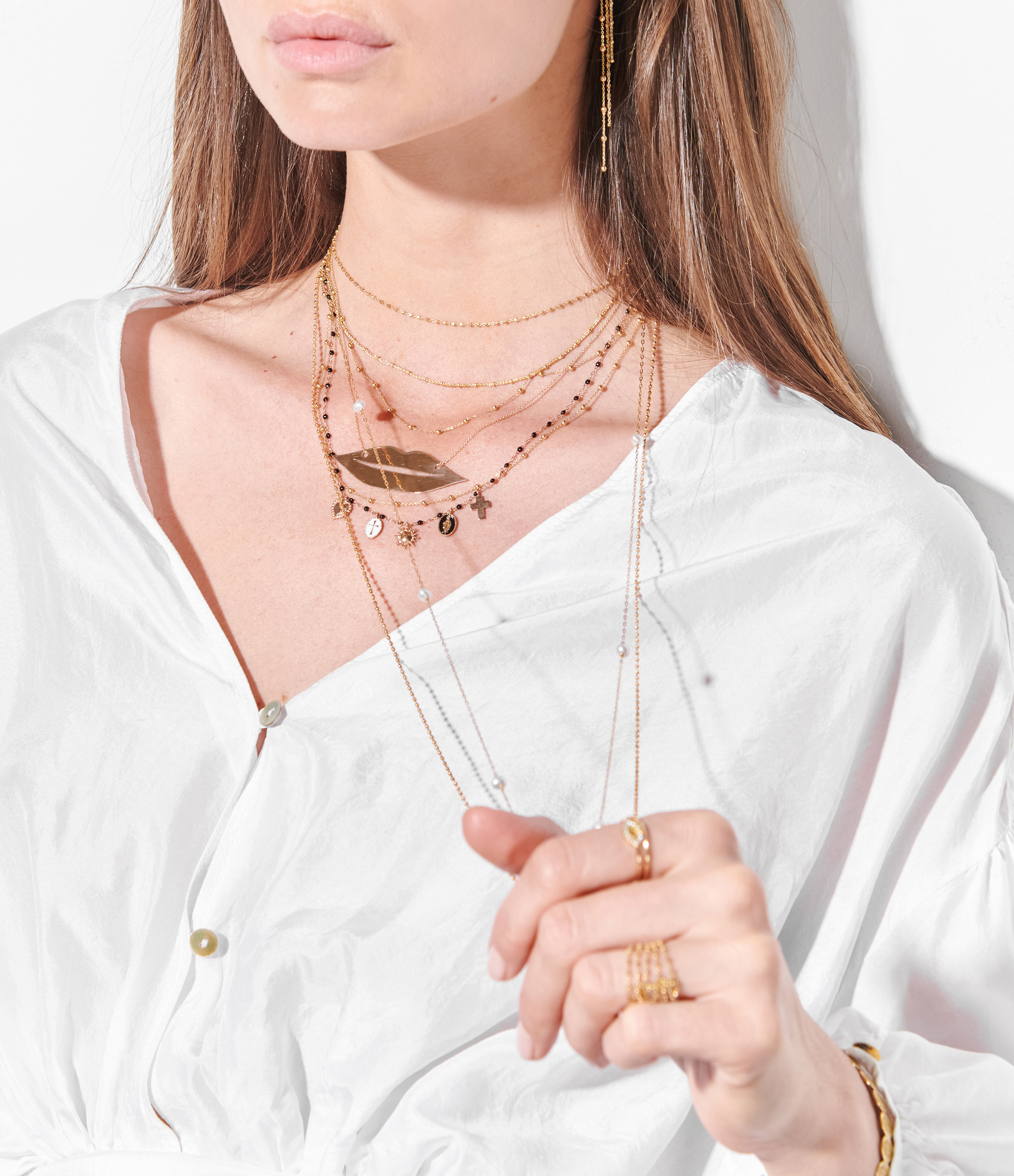 GINETTE NY - Collier French Kiss JumBoucle d'oreille Or Rose