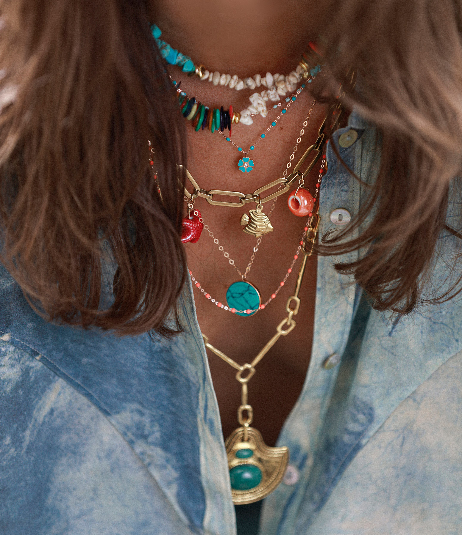 SHAKER JEWELS - Collier Pierres Turquoises Plaqué Or