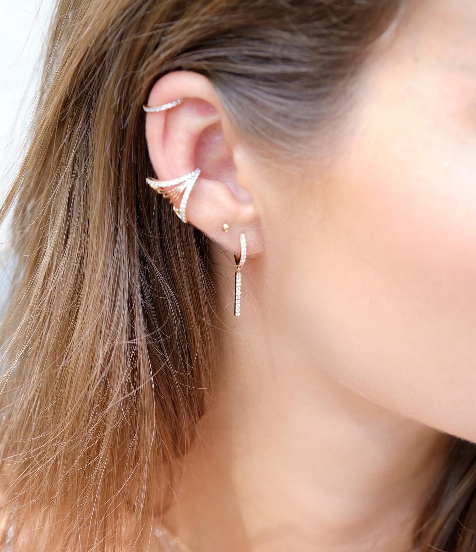 NAVA JOAILLERIE - Bijou d'oreille Cheyenne Losange Diamants Or Rose