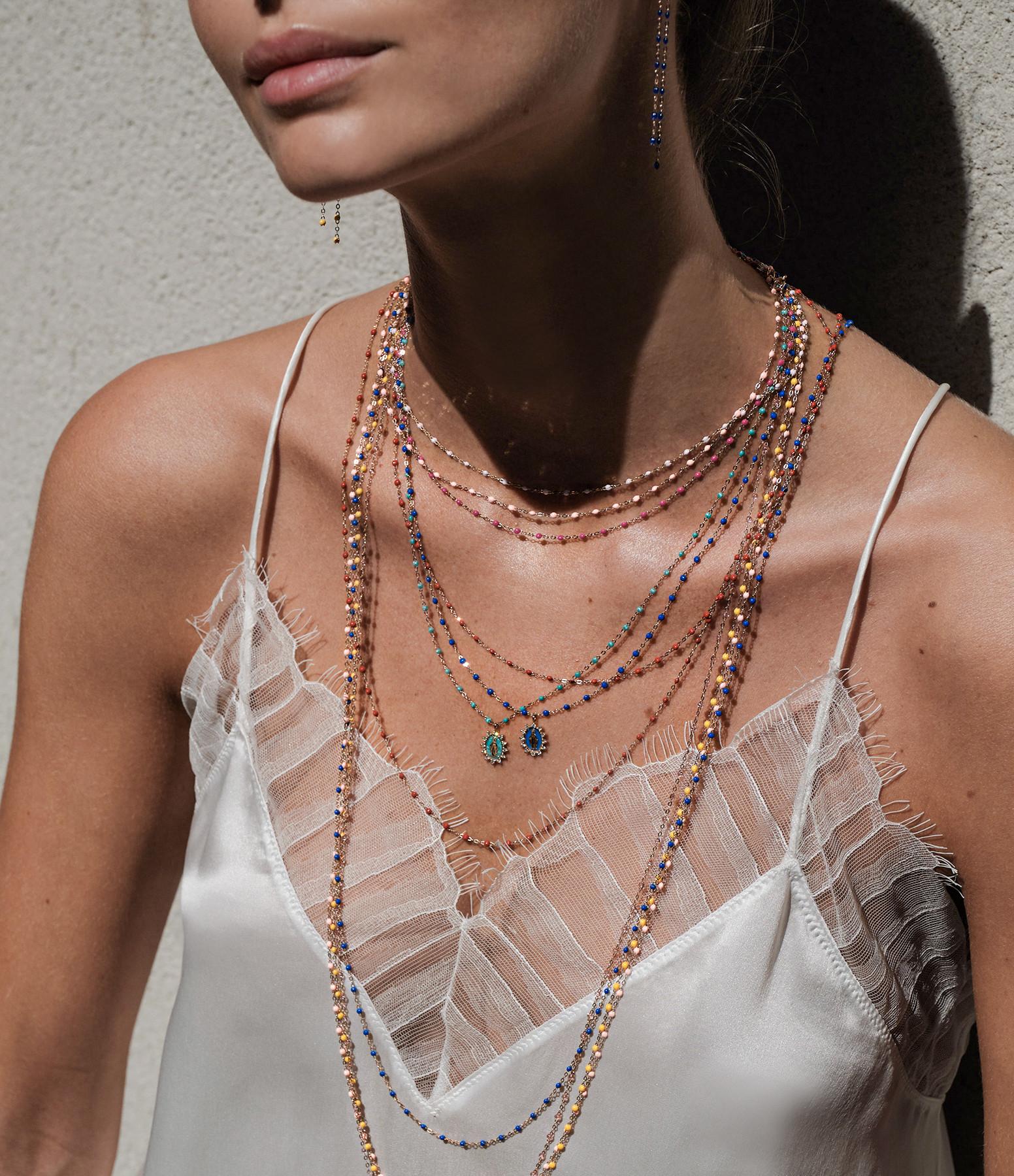 GIGI CLOZEAU - Collier Croix Perles Résine Or