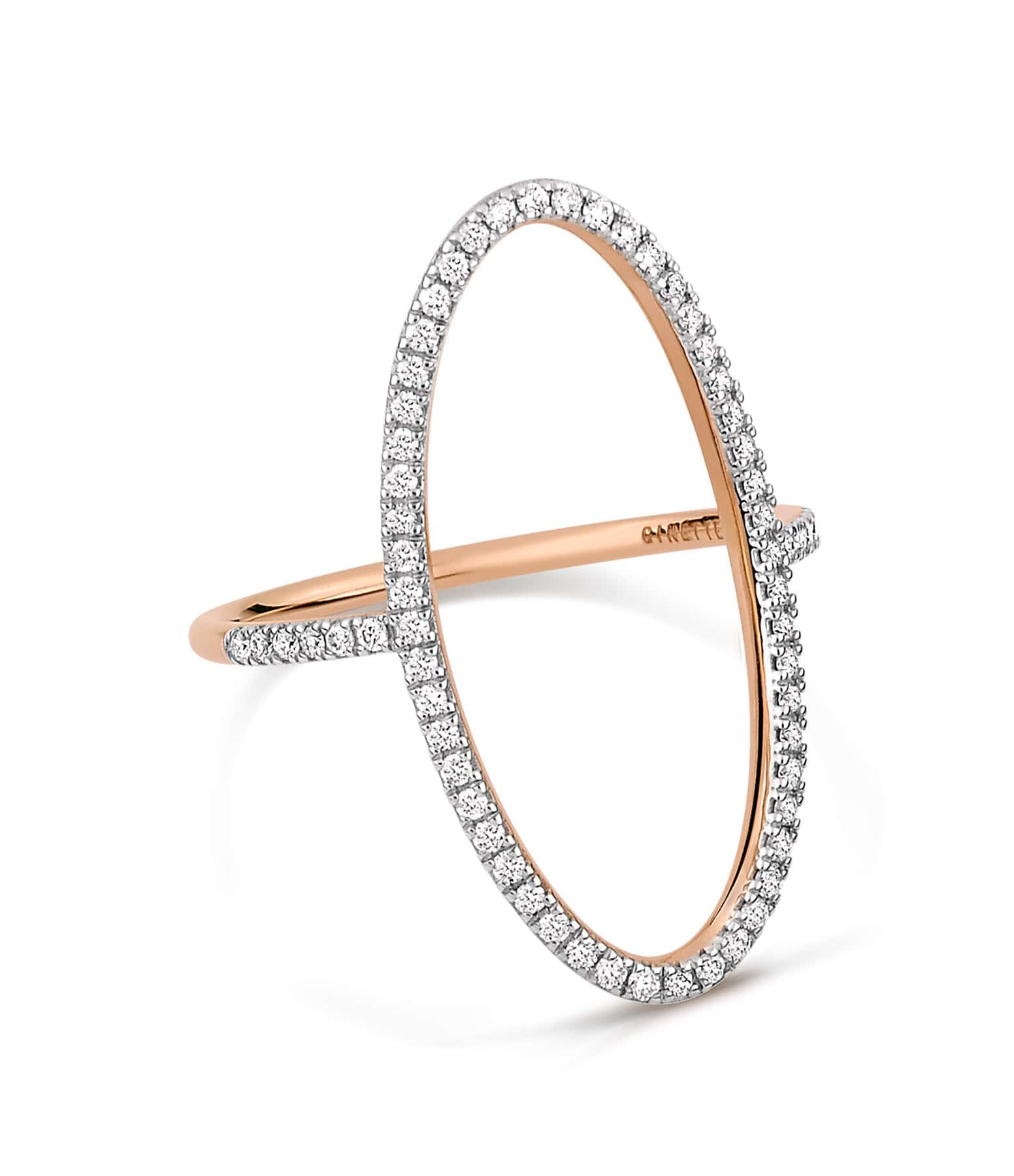 GINETTE_NY - Bague Ellipses Or Rose Diamants