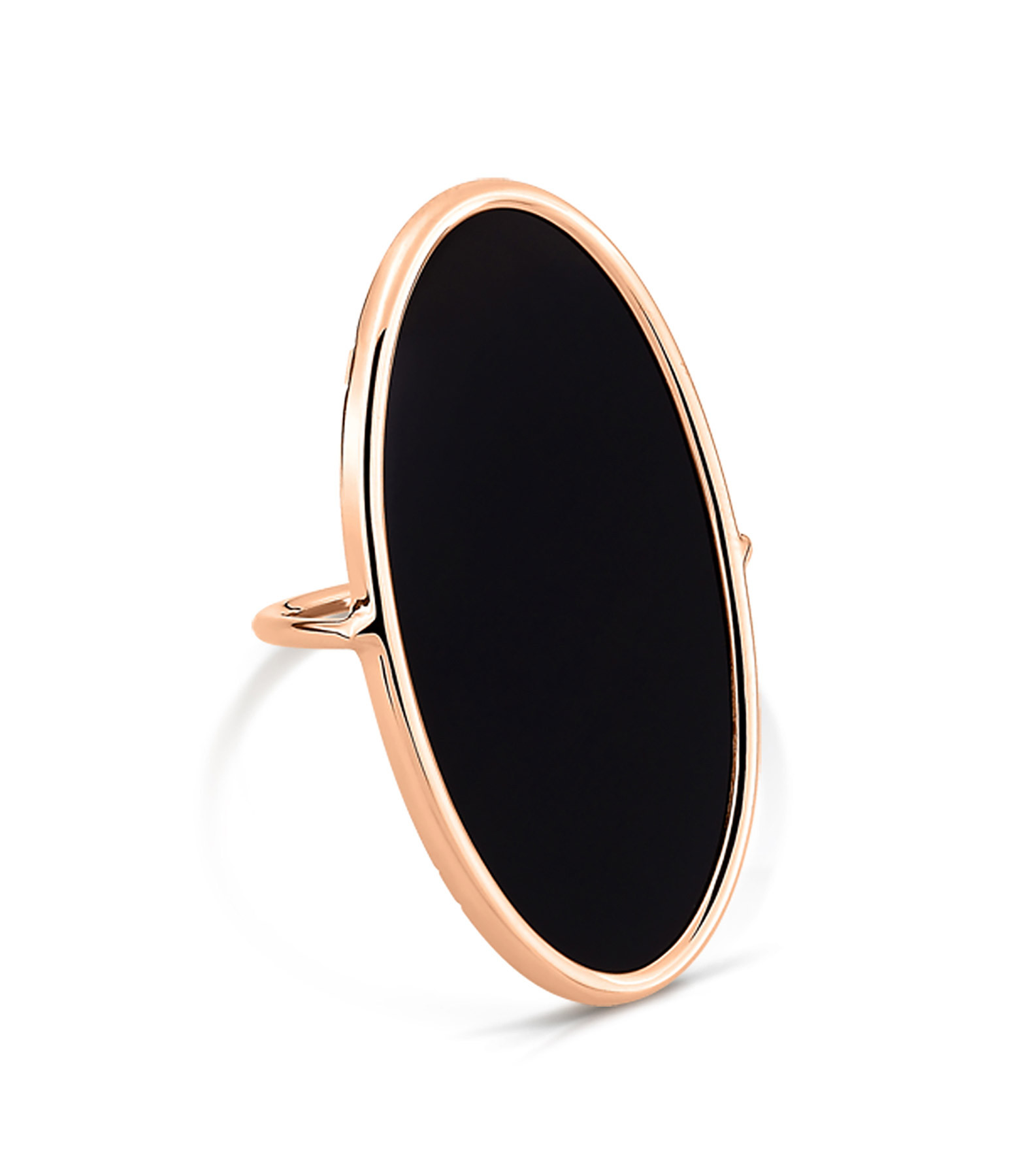 GINETTE_NY - Bague Ellipse Large Or Rose Onyx