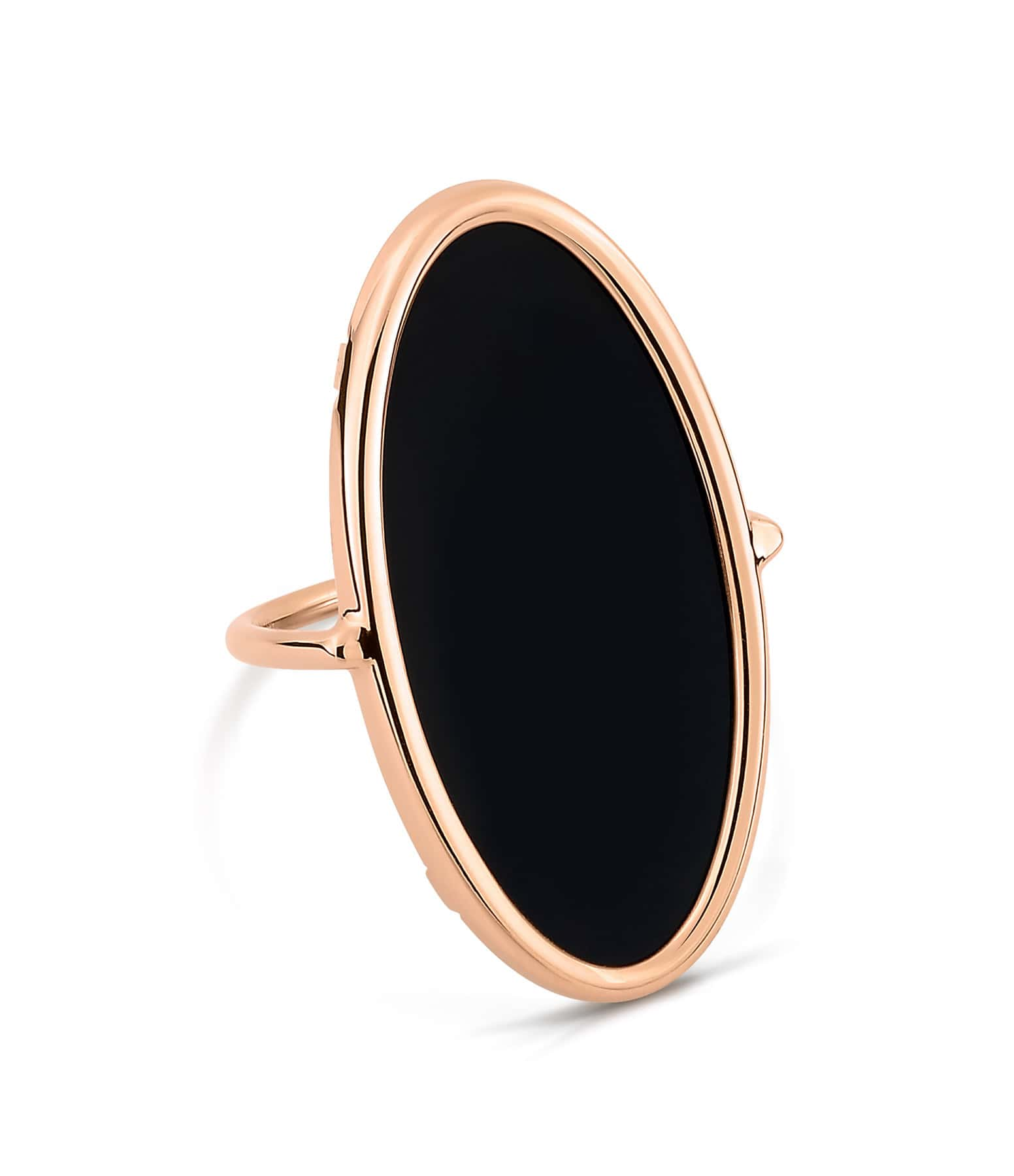 GINETTE_NY - Bague Ellipse Or Rose Onyx