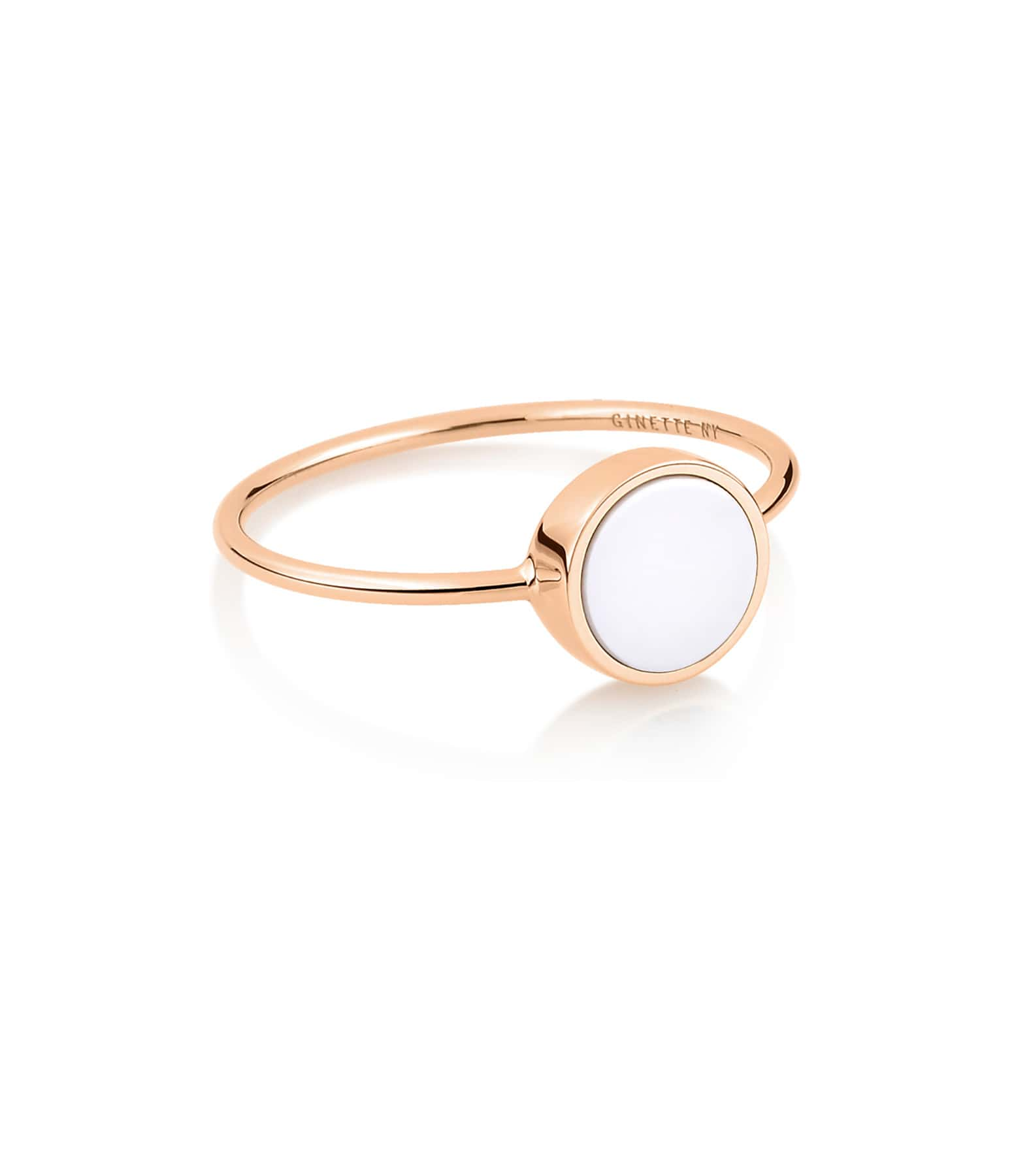 GINETTE NY - Bague Ever Mini Disc Or Rose Agate Blanche