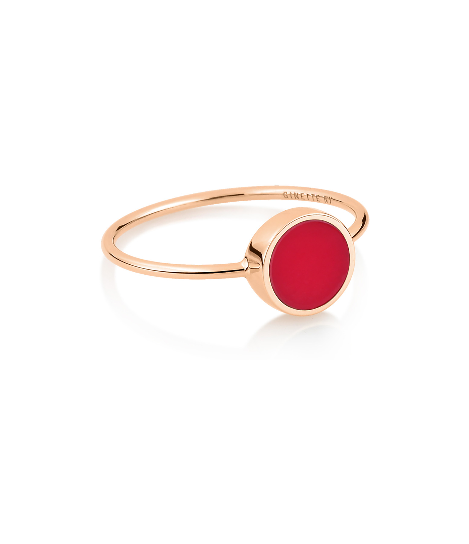 GINETTE NY - Bague Ever Mini Disc Or Rose Corail