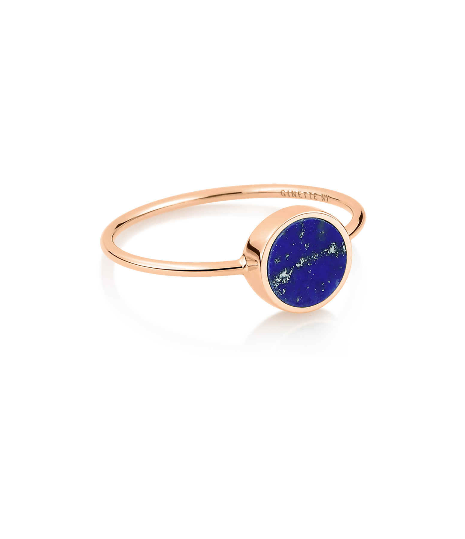 GINETTE NY - Bague Ever Mini Disc Or Rose Lapis Lazuli