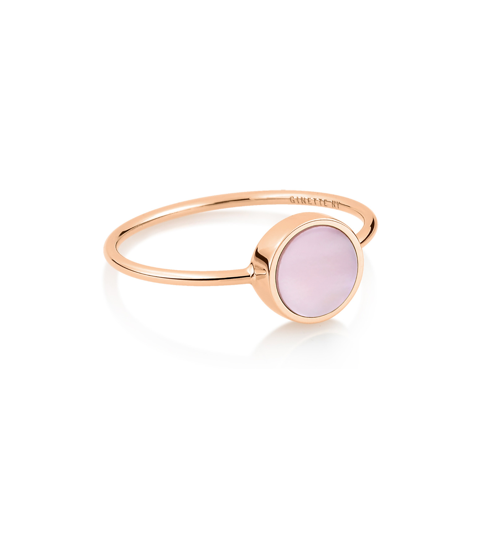 GINETTE NY - Bague Ever Mini Disc Or Rose Nacre Rose