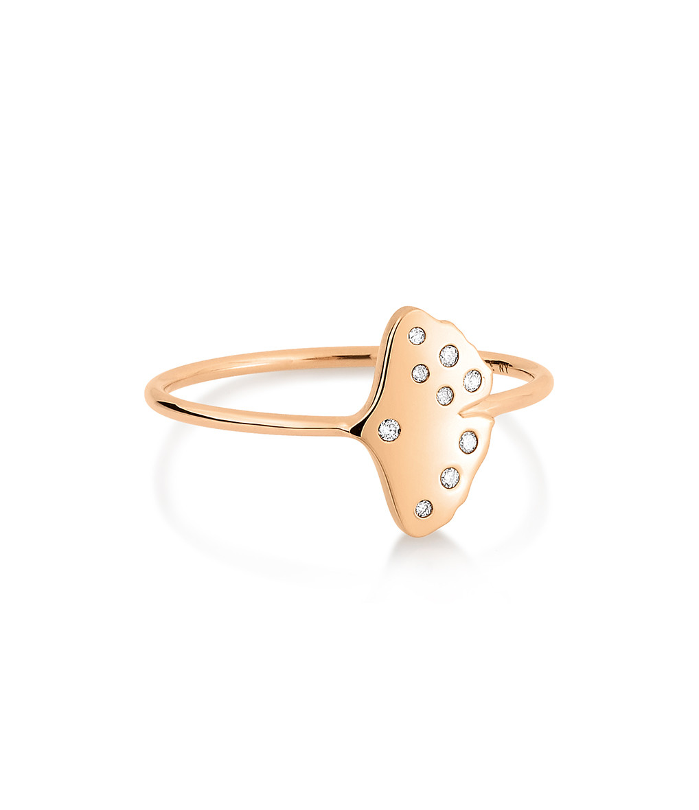 GINETTE_NY - Bague Gingko Simple Diamants Or Rose