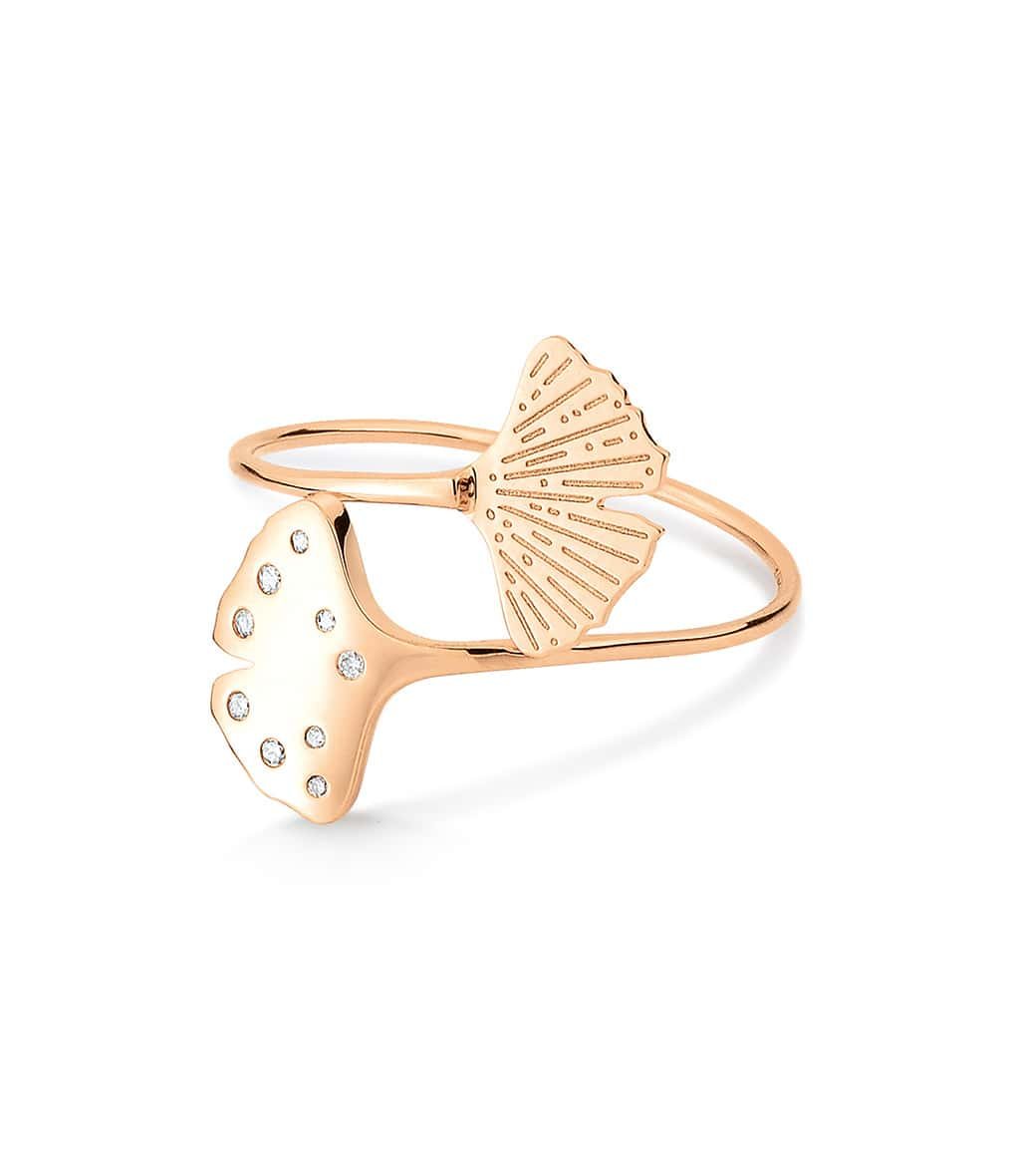 GINETTE_NY - Bague Gingko Double Diamants Or Rose