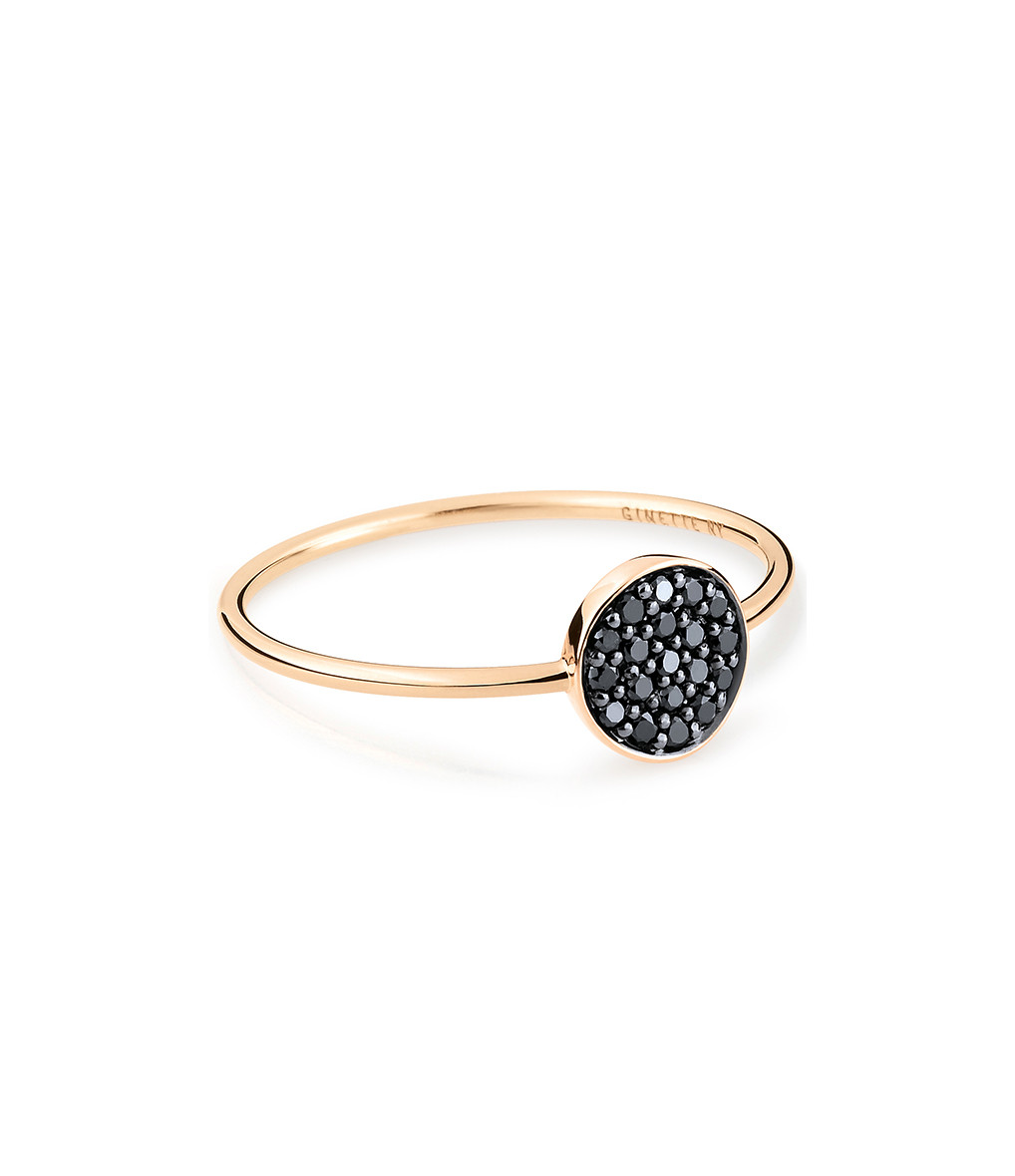 GINETTE_NY - Bague Mini Ever Mini Disc Diamants Noirs