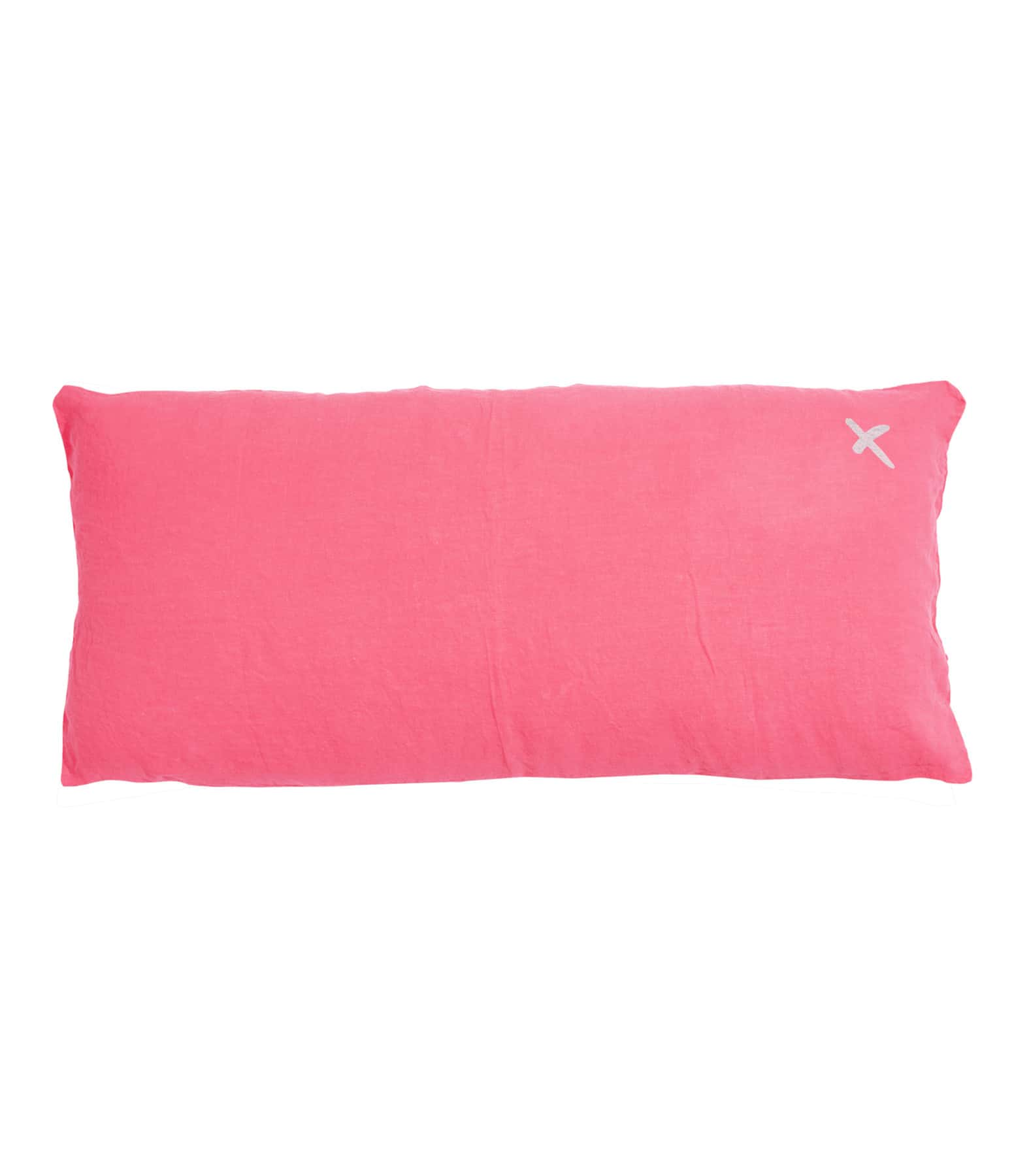 BED AND PHILOSOPHY - Coussin Lovers Lin Rose Fluo Croix Argenté