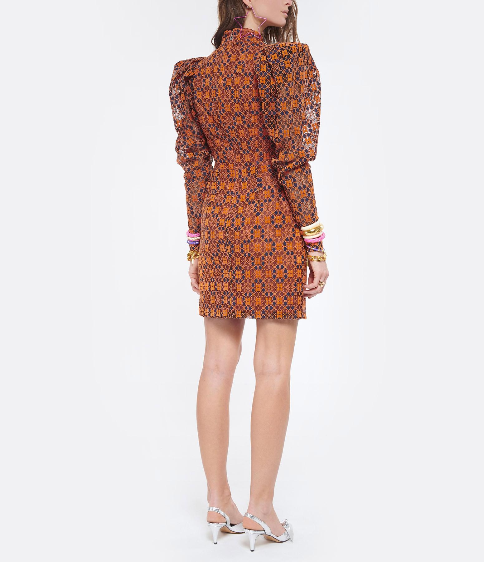 ROTATE - Robe Ida Mandarin Orange Imprimé