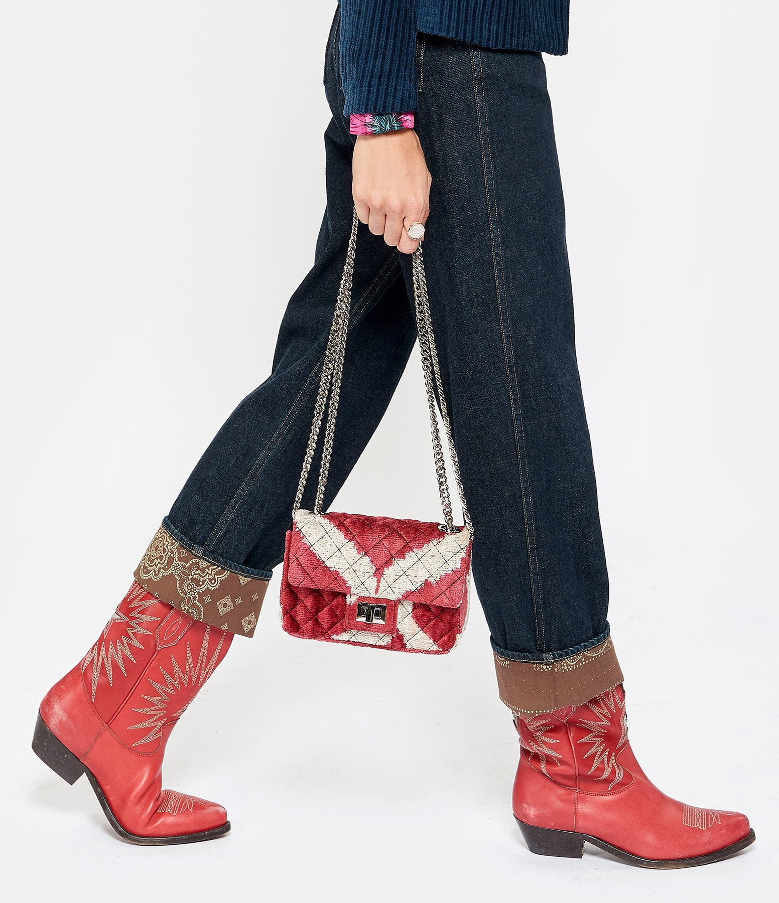 ROUGH STUDIOS - Sac Bandita Mini Velours Soie Rouge Beige
