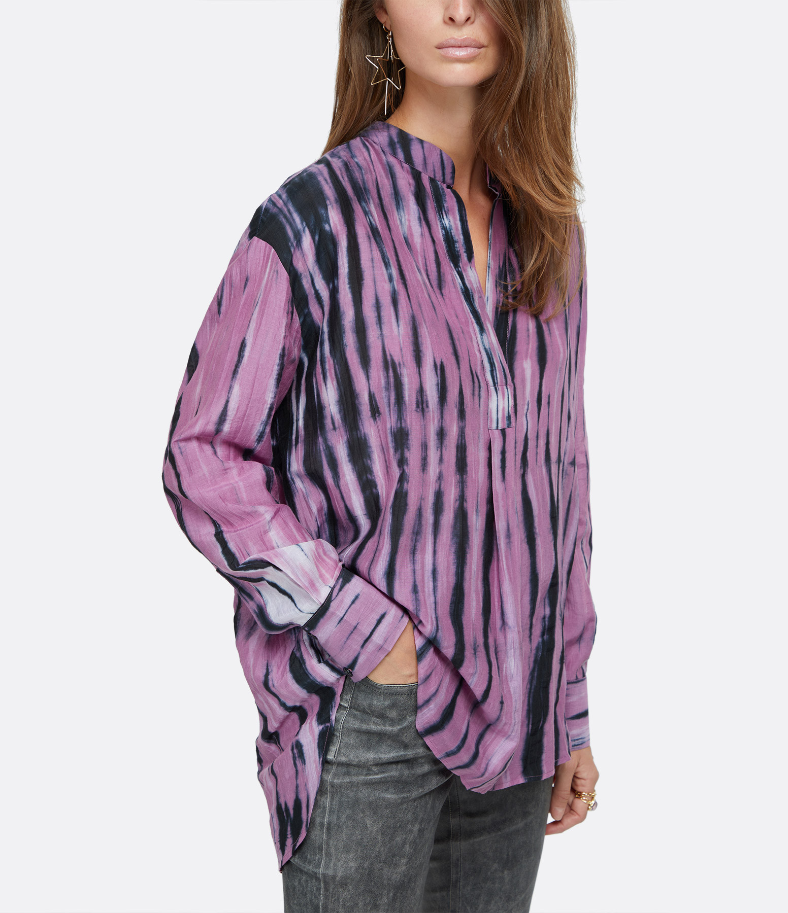 ROUGH STUDIOS - Blouse Sailor Coton Noir Violet
