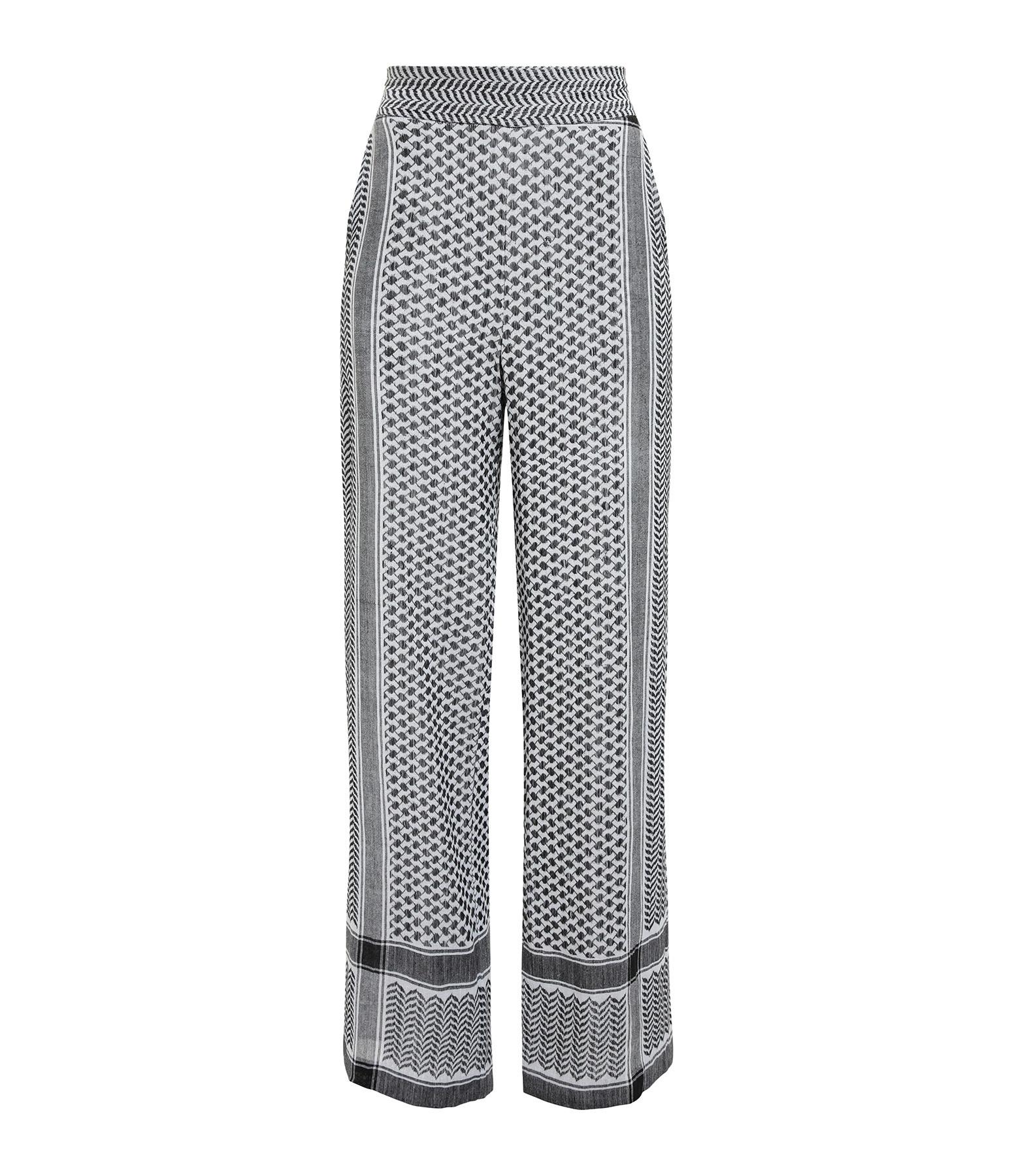 ROUGH STUDIOS - Pantalon Veneto Coton Brodé Noir Blanc