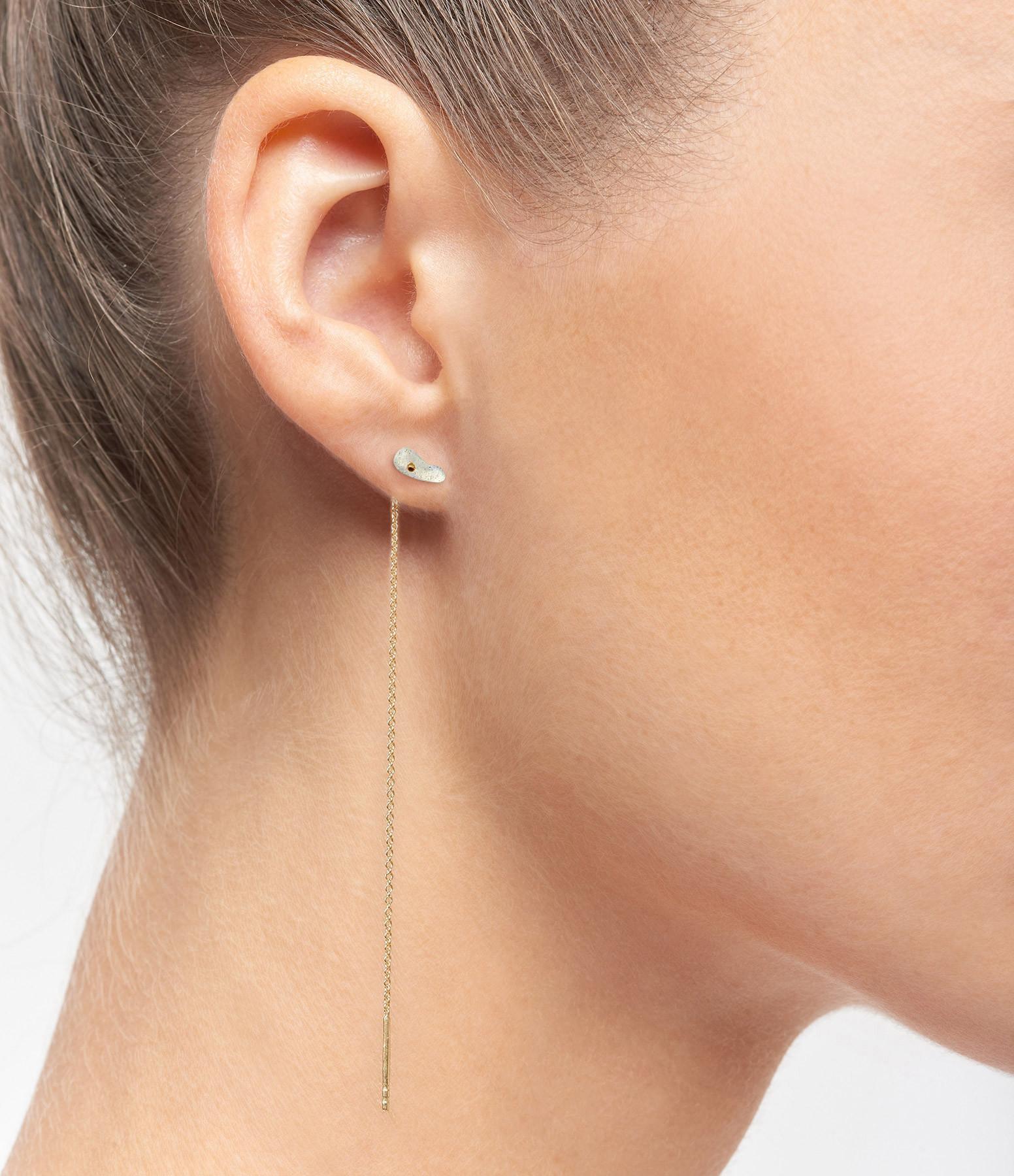 MON PRECIEUX GEM - Boucle d'oreille Chaîne Goutte Labradorite (vendue à l'unité)