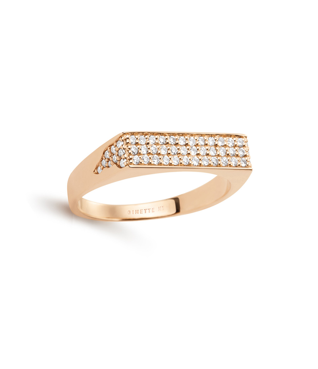 GINETTE NY - Bague Baguette Signet Diamant