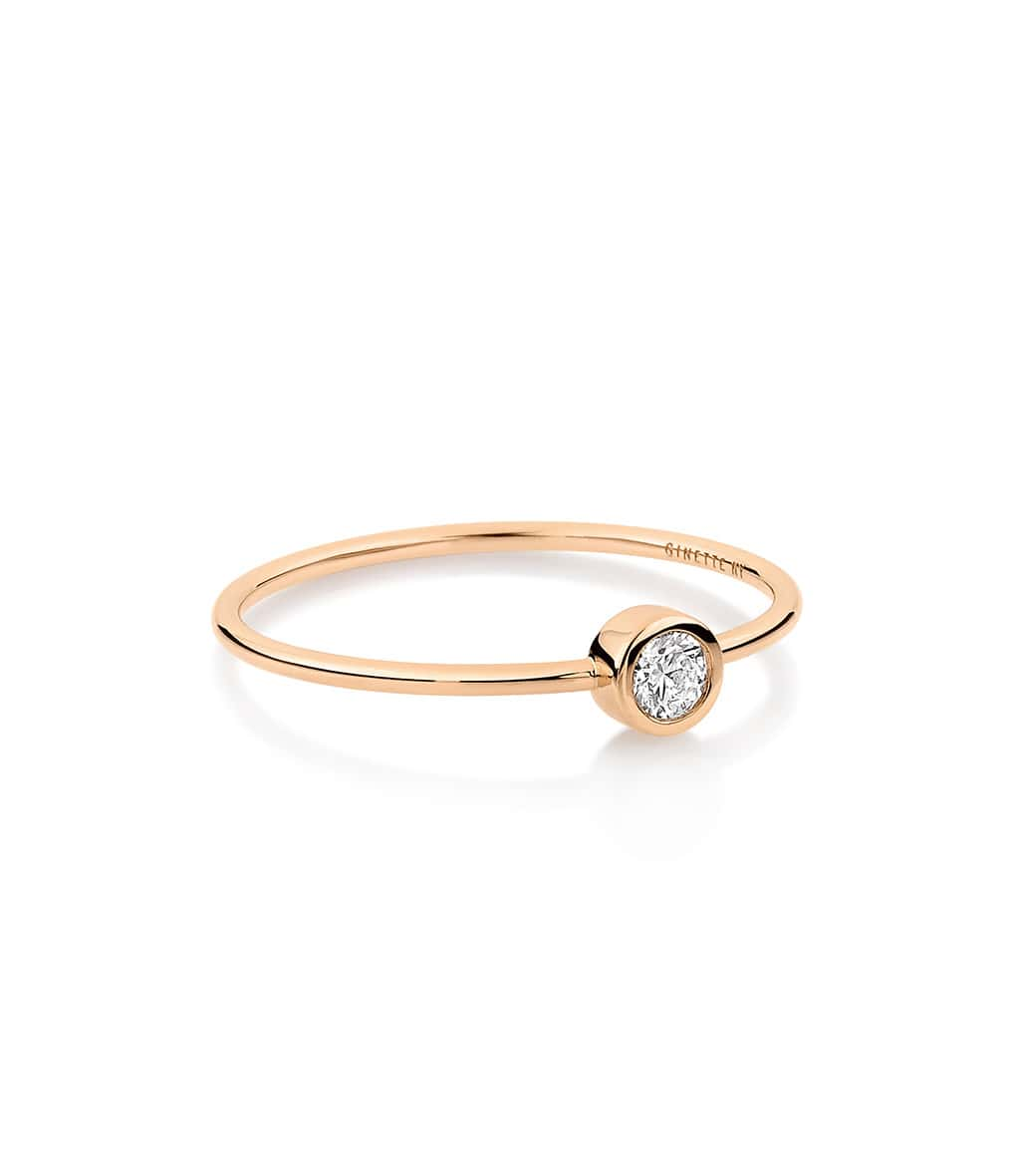 GINETTE_NY - Bague Lonely Diamonds Medium Diamants Or Rose
