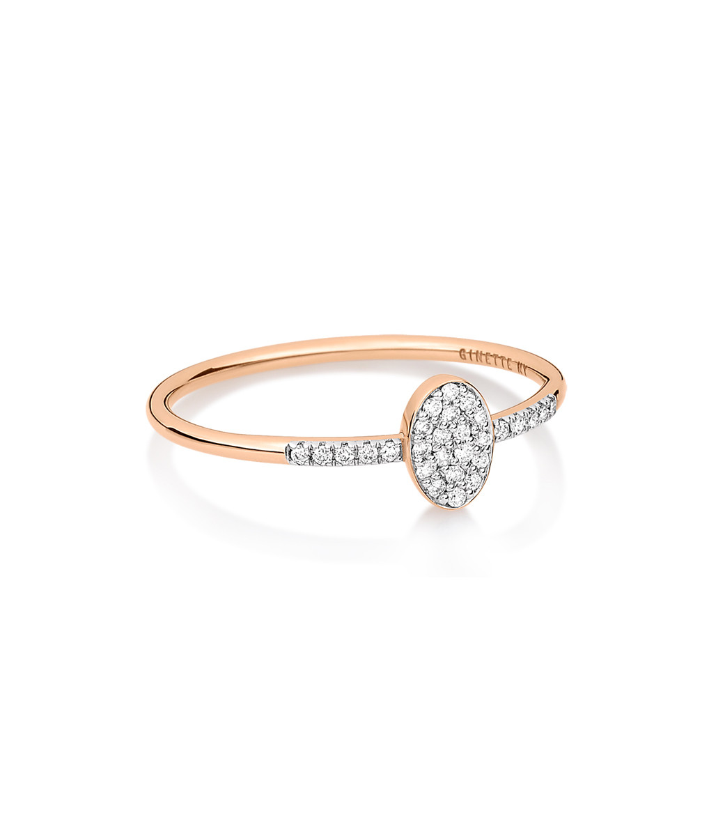 GINETTE_NY - Bague Sequin Or Rose Diamants