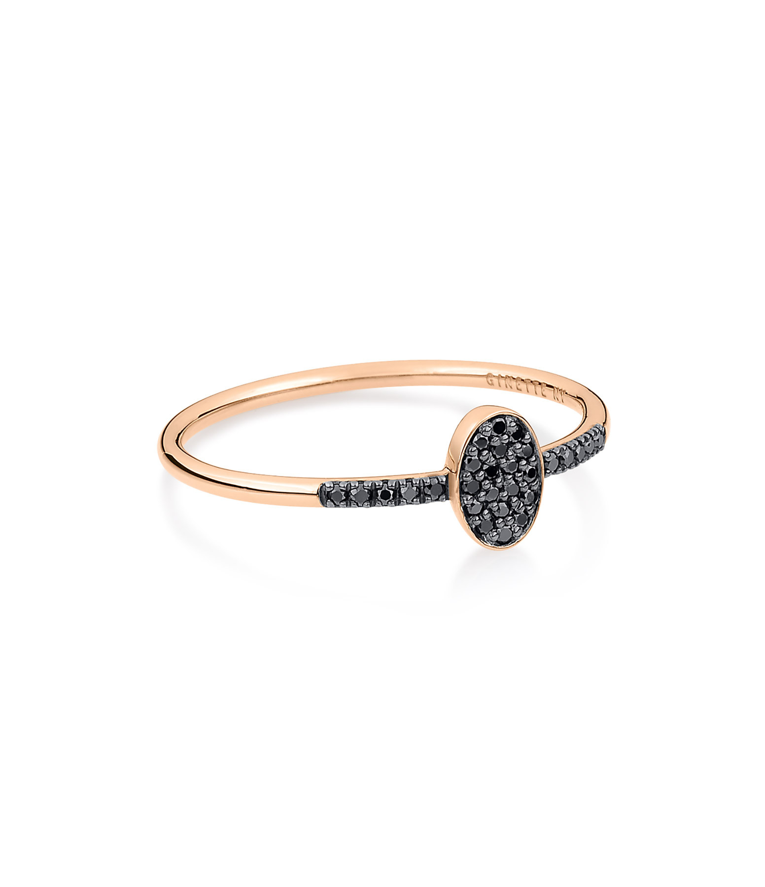 GINETTE_NY - Bague Sequin Or Rose Diamants Noirs