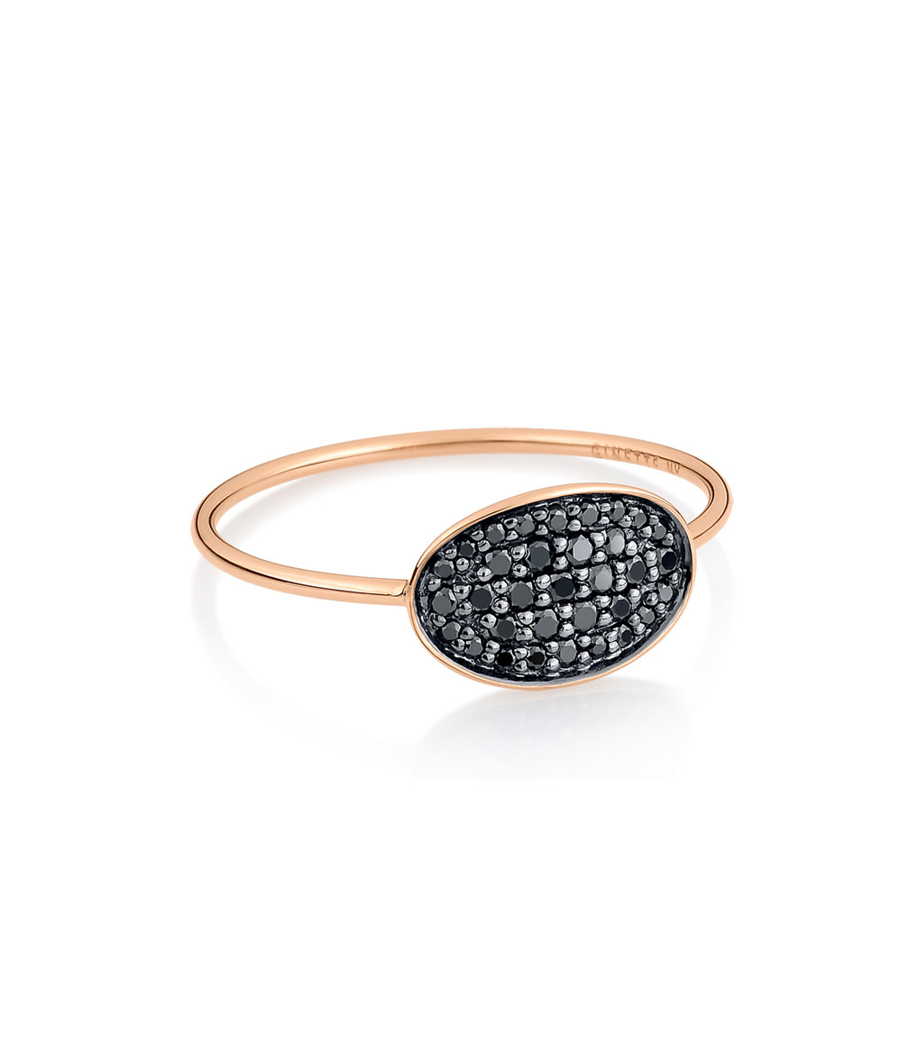 GINETTE_NY - Bague Sequin Mini Or Rose Diamants Noirs