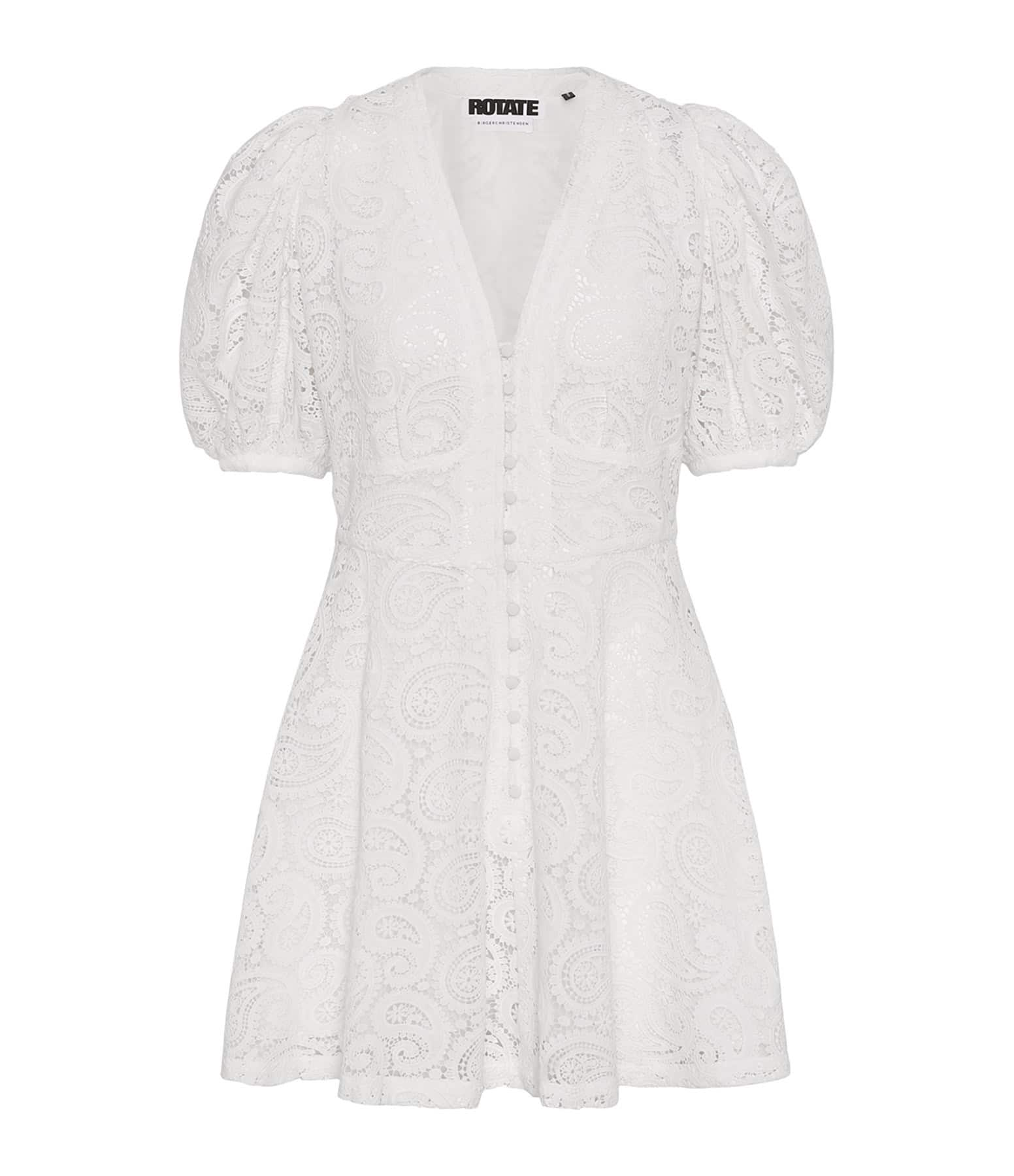 ROTATE - Robe Deanna Coton Biologique Blanc Brillant