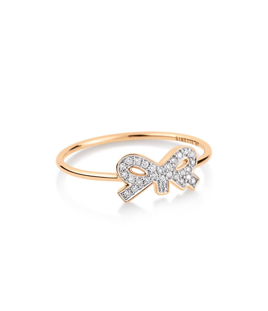 GINETTE_NY - Bague Tiny Diams Bow Or Rose Diamants