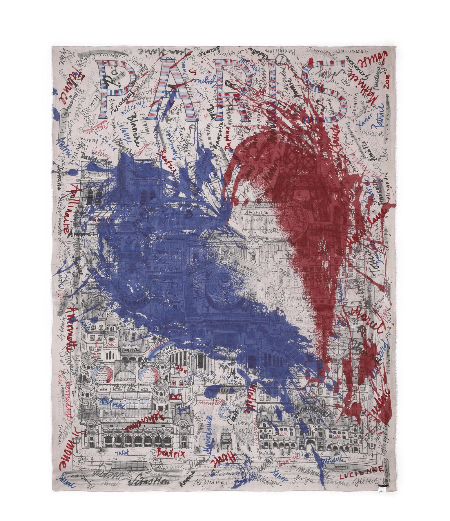 FALIERO SARTI - Foulard Paris Imprimé Bleu Blanc Rouge