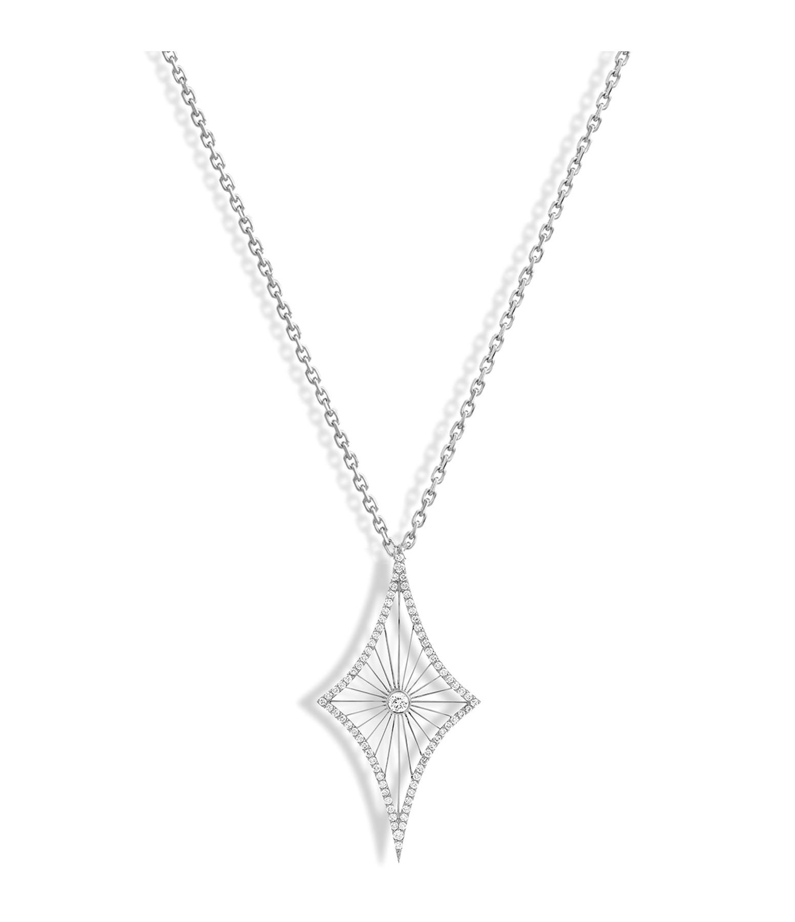 NAVA JOAILLERIE - Sautoir Cheyenne Losange Diamants Or Blanc
